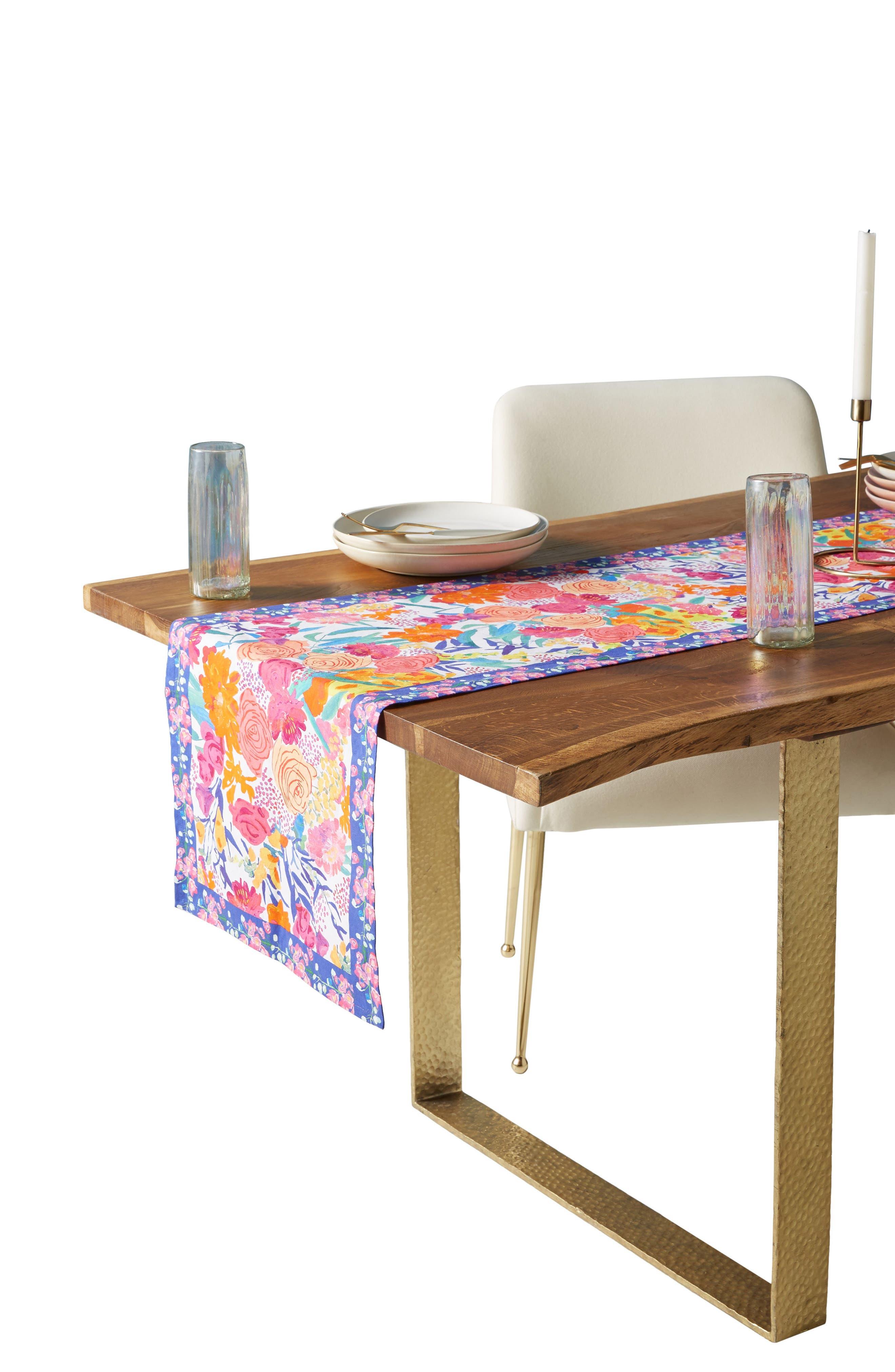 Paint + Petals Table Runner,                             Alternate thumbnail 3, color,                             White Multi