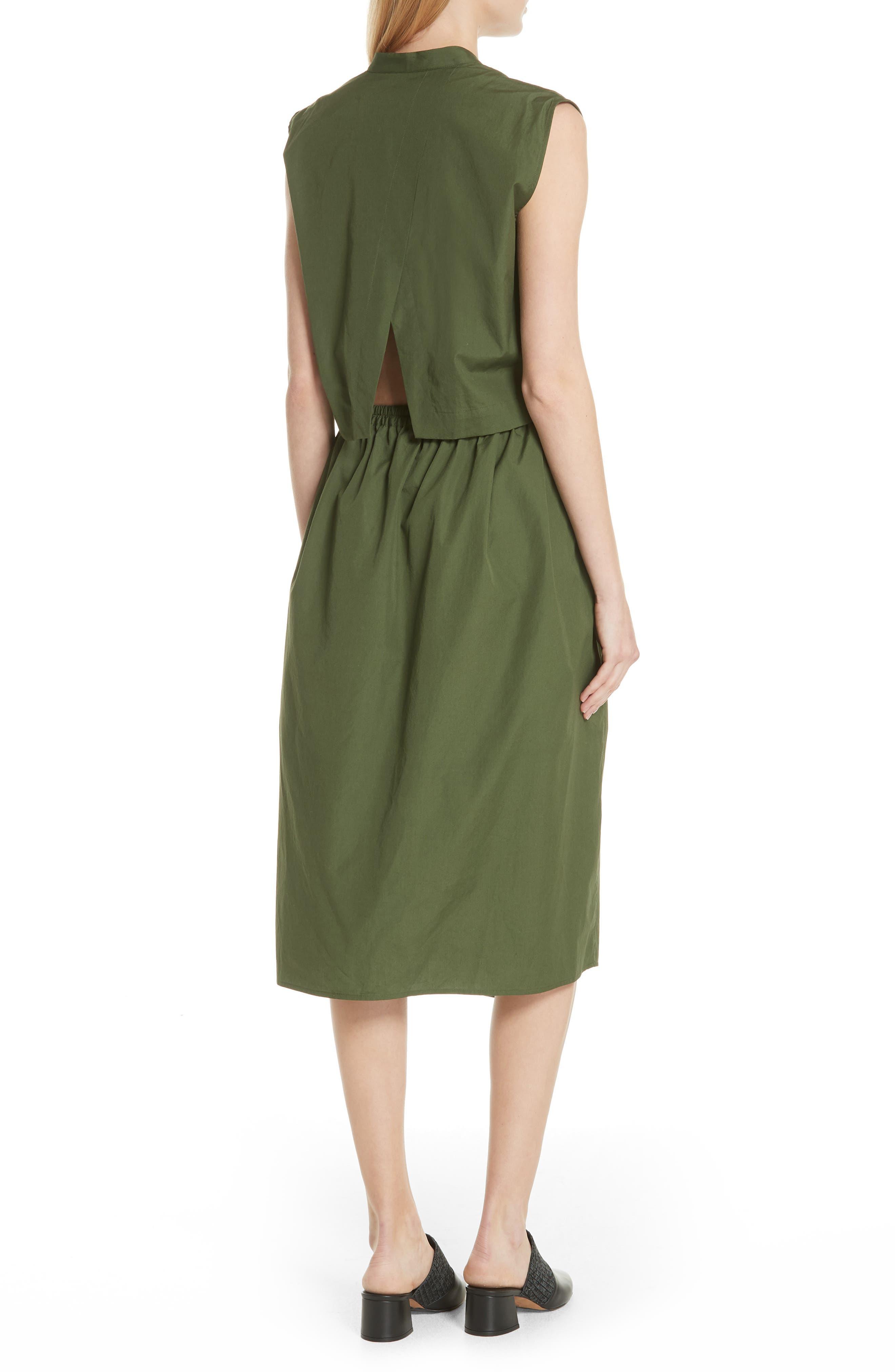 Back Cutout Cotton Utility Dress,                             Alternate thumbnail 2, color,                             Cedar