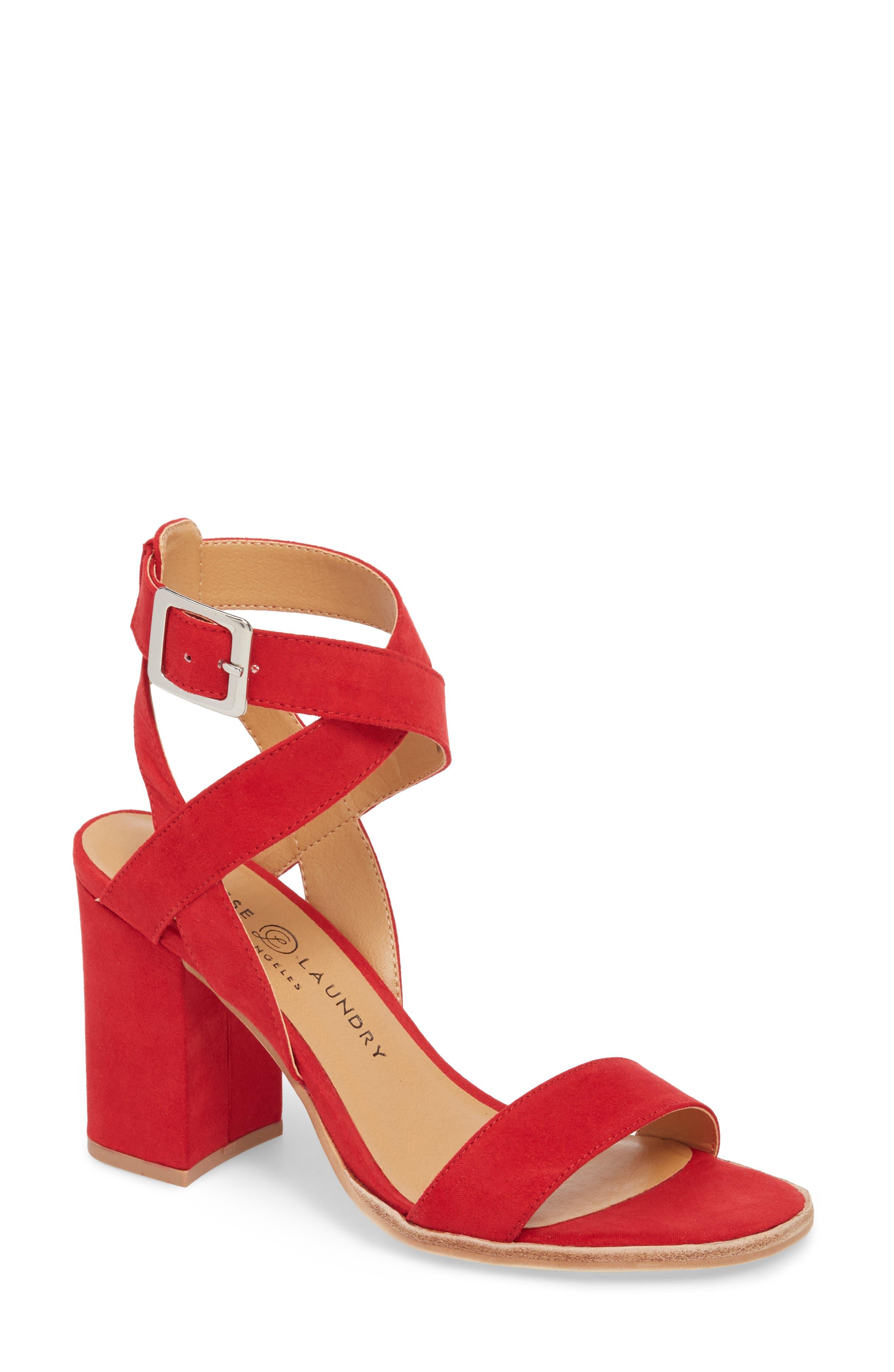Stassi Block Heel Sandal,                             Main thumbnail 1, color,                             Red