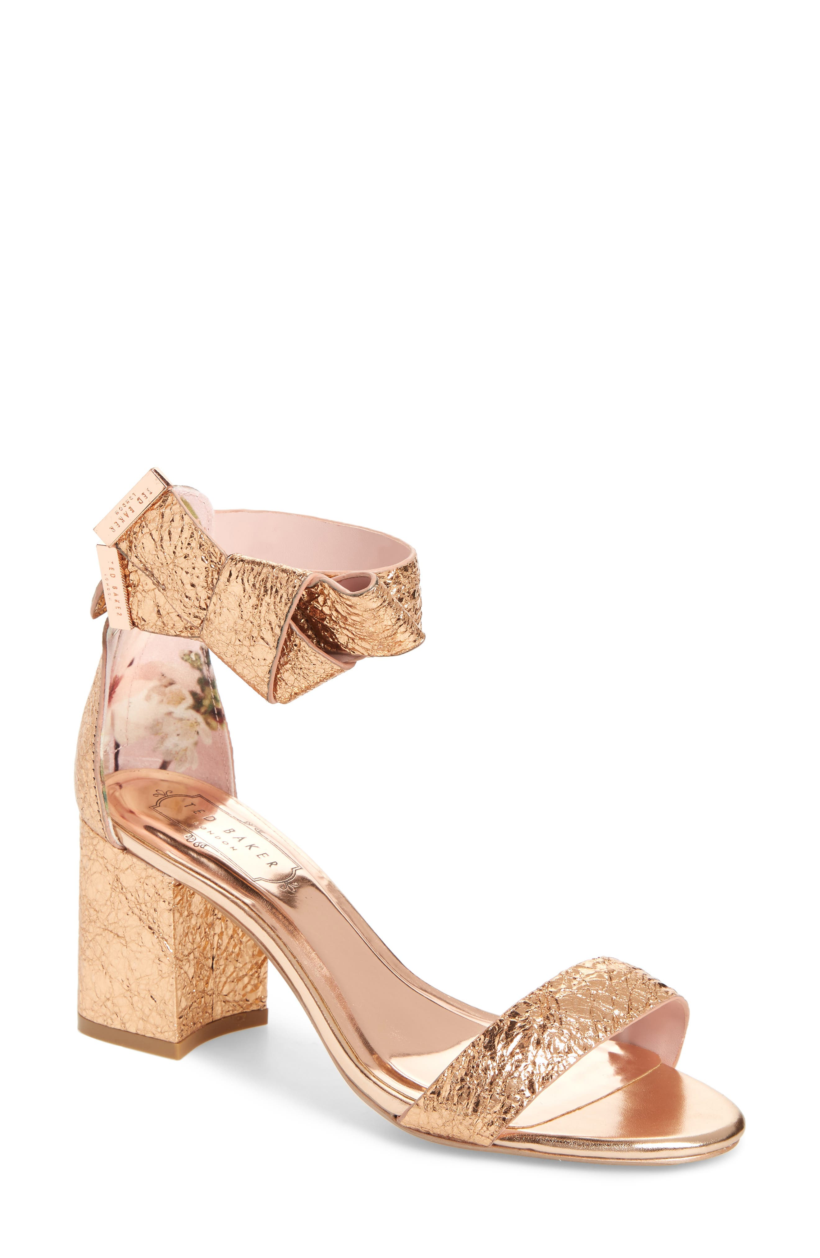 Kerrias Rose Gold Leather Block Heeled Sandal - Rose gold Ted Baker A5XJWAxn