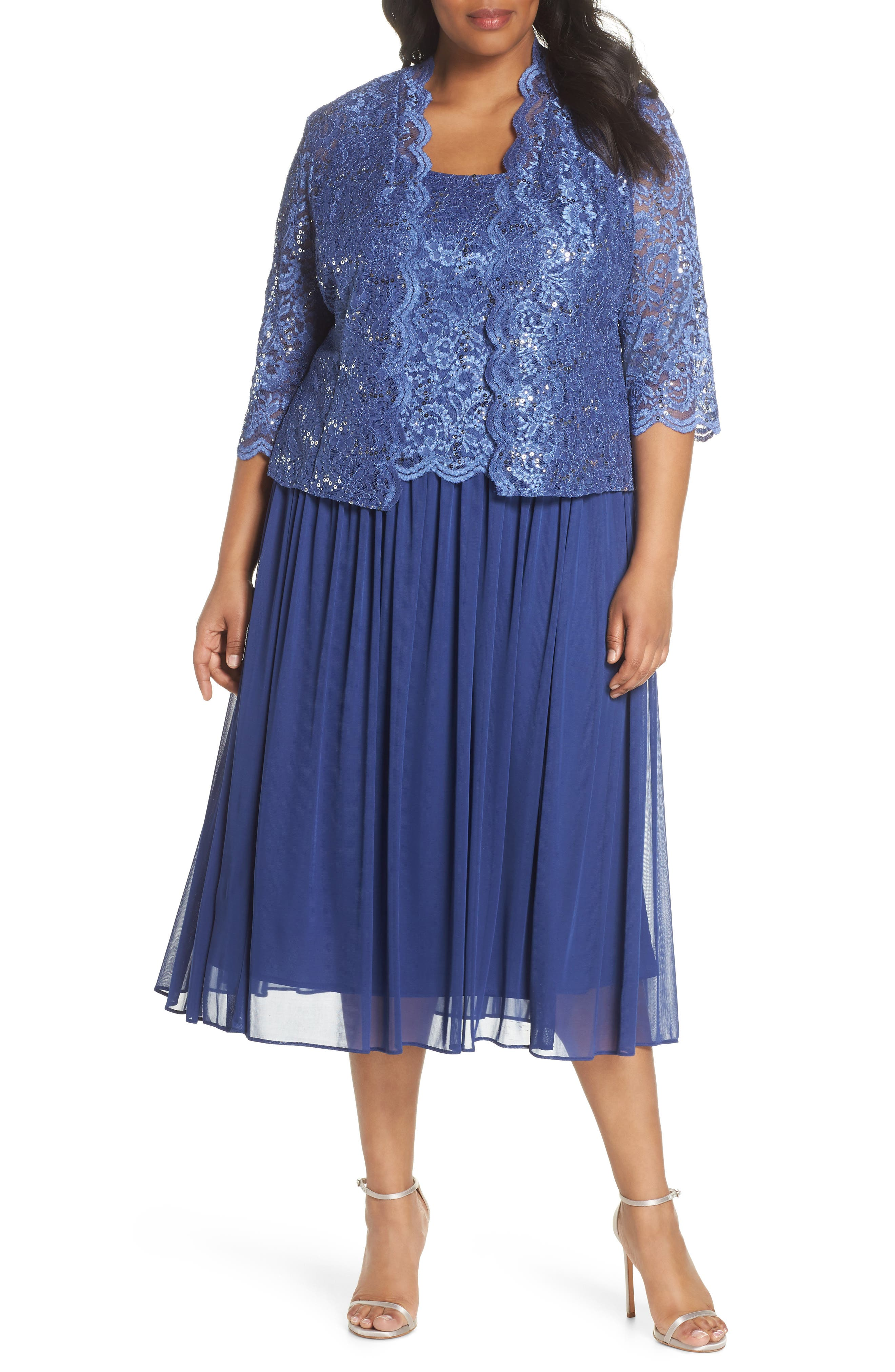 Lace Bodice Dress with Jacket,                         Main,                         color, Violet