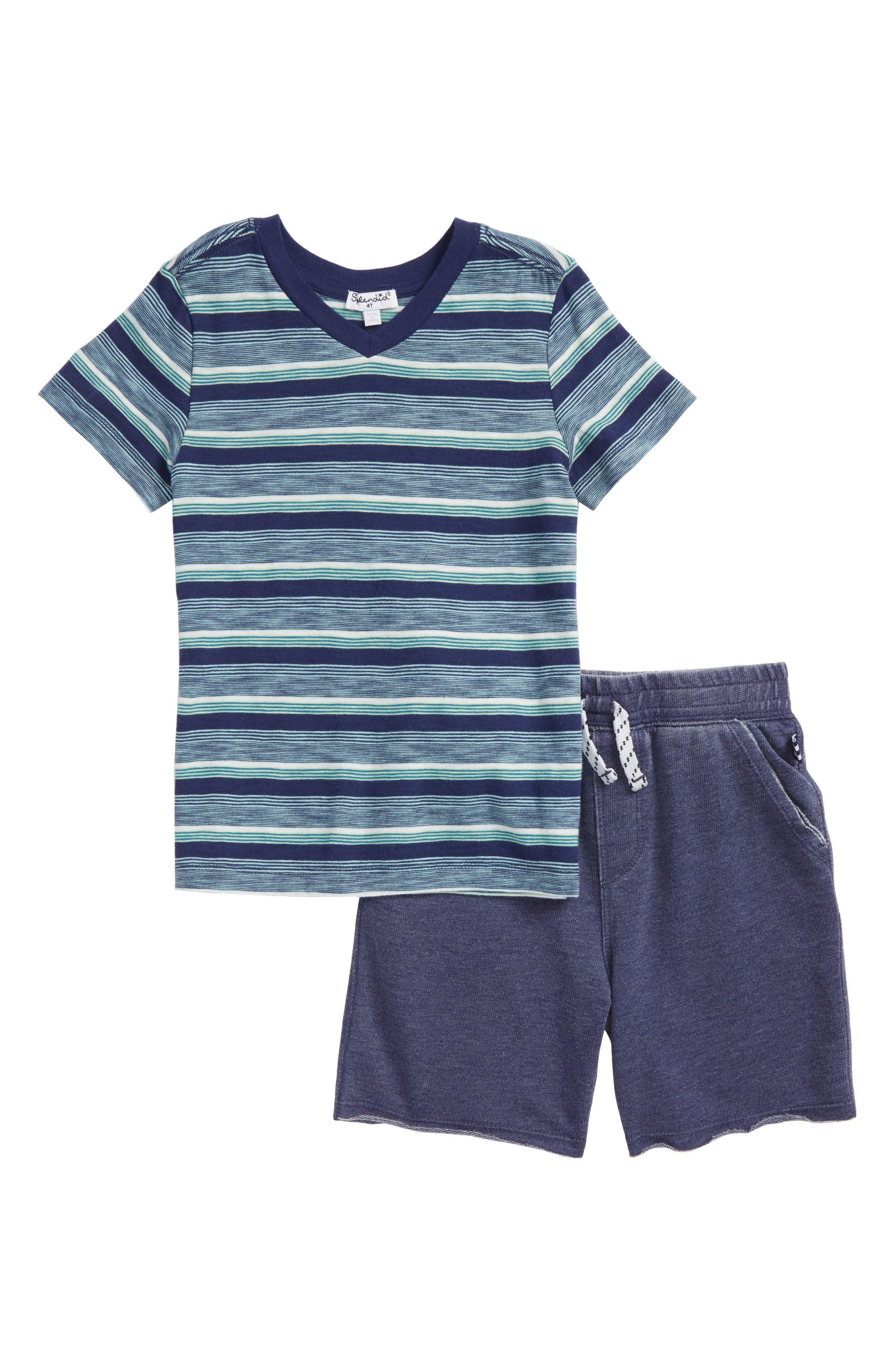 V-Neck T-Shirt & Shorts Set,                         Main,                         color, Indigo Sky