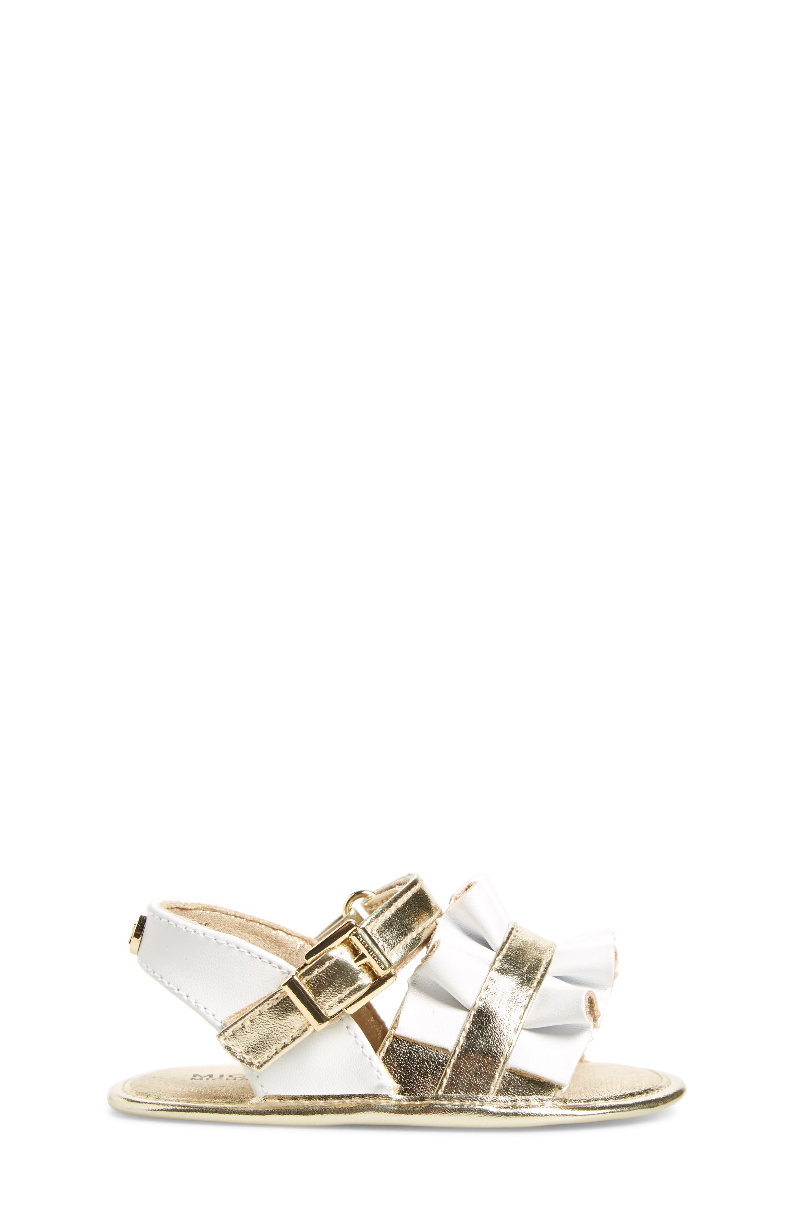 Baby Free Metallic Ruffled Sandal,                             Alternate thumbnail 3, color,                             White Gold