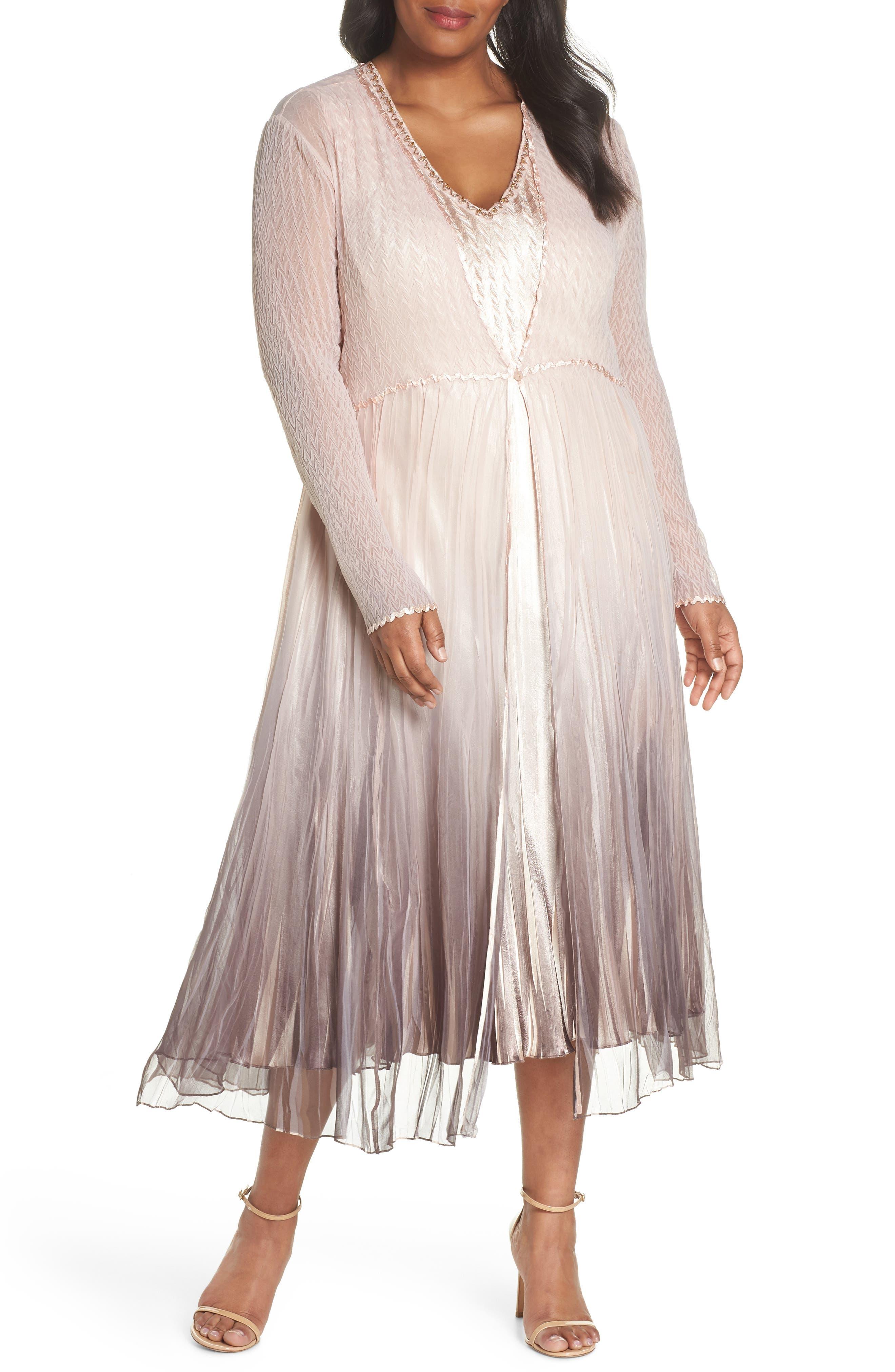 Komarov Beaded Neck Charmeuse Dress & Jacket (Plus Size)