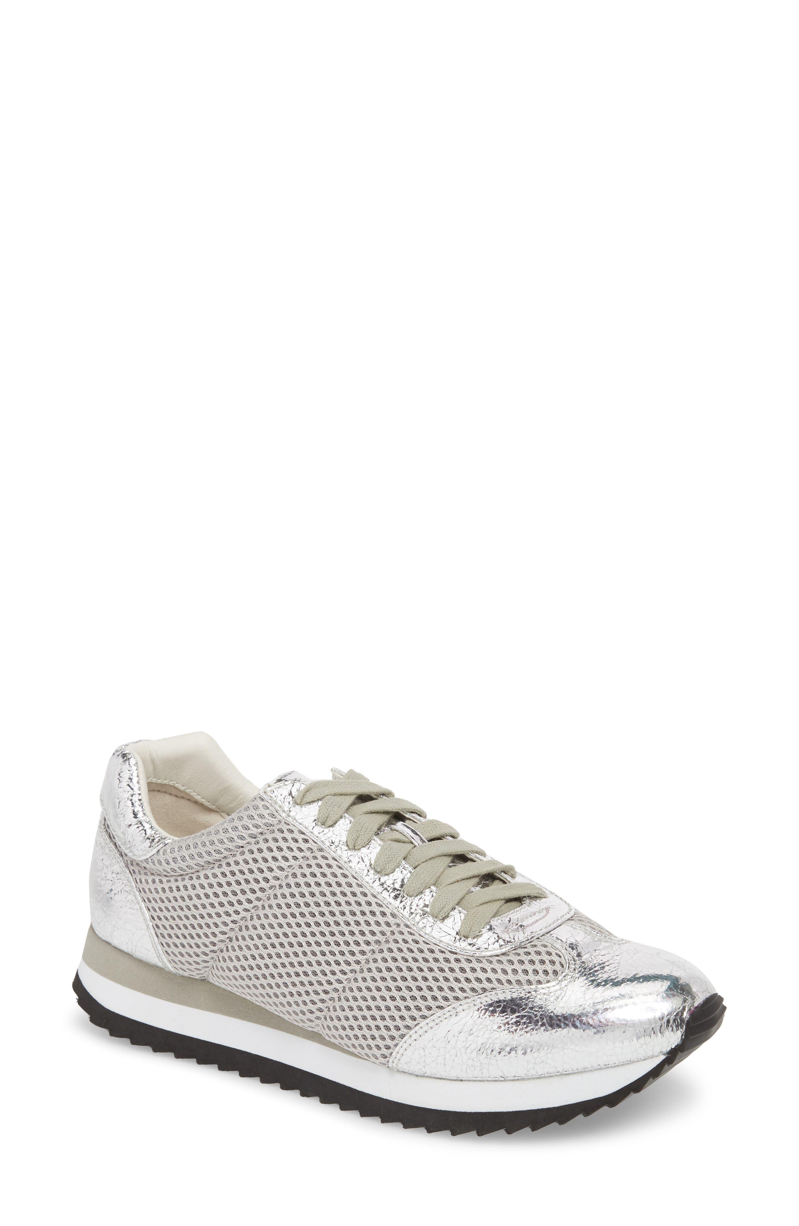Jaclyn Mesh Sneaker,                         Main,                         color, Silver