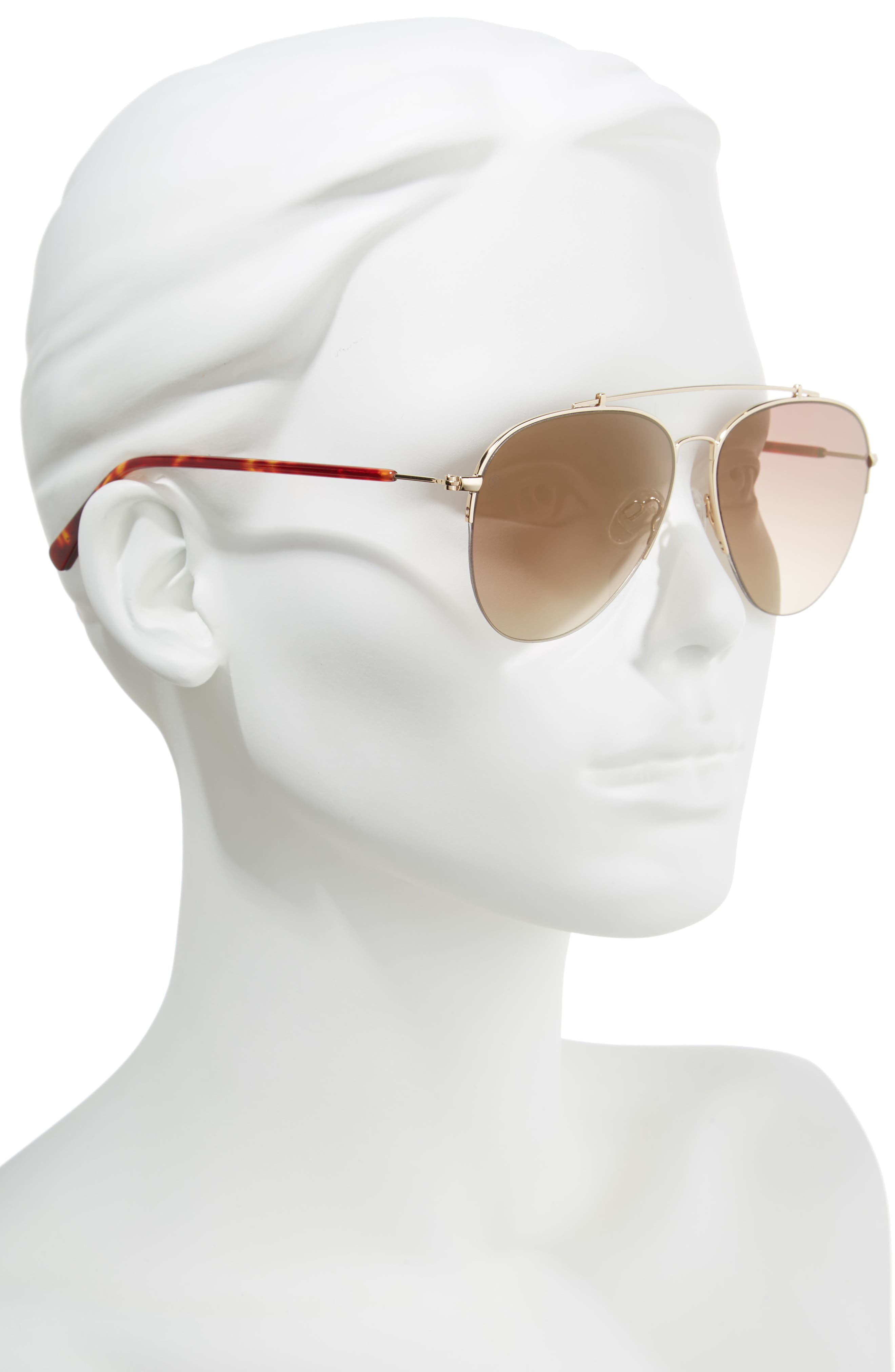 D'BLANC The Last 57mm Aviator Sunglasses,                             Alternate thumbnail 2, color,                             Toffee/ Brown