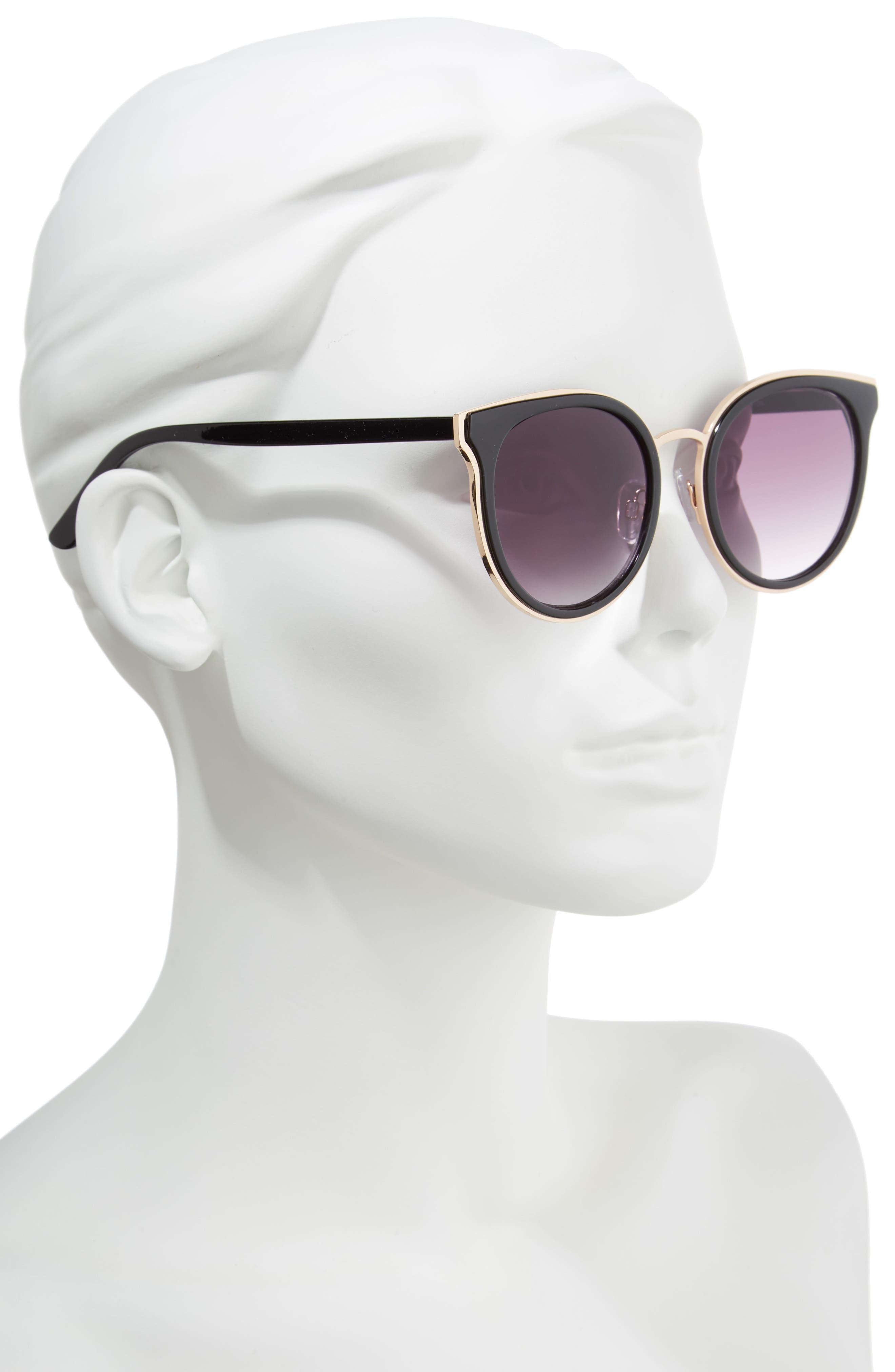 59mm Round Sunglasses,                             Alternate thumbnail 2, color,                             Gold/ Black