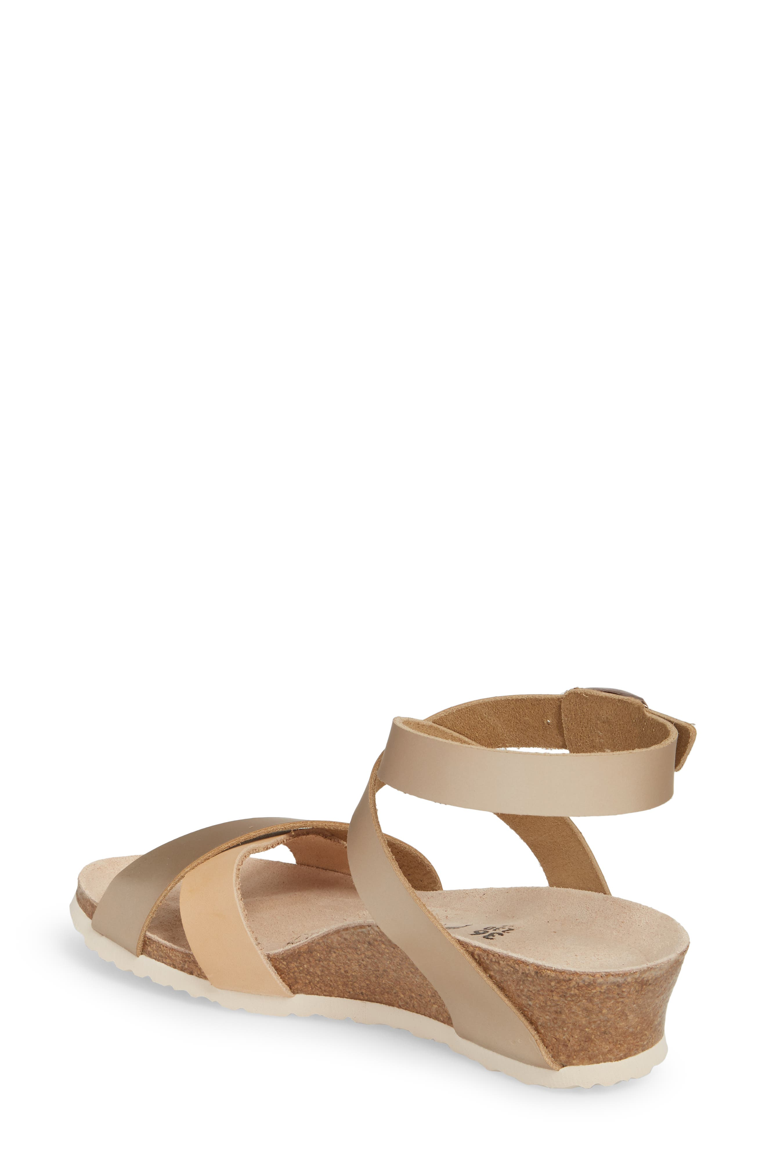 Papillio by Birkenstock Lola Wedge Sandal,                             Alternate thumbnail 2, color,                             Frosted Metallic Rose