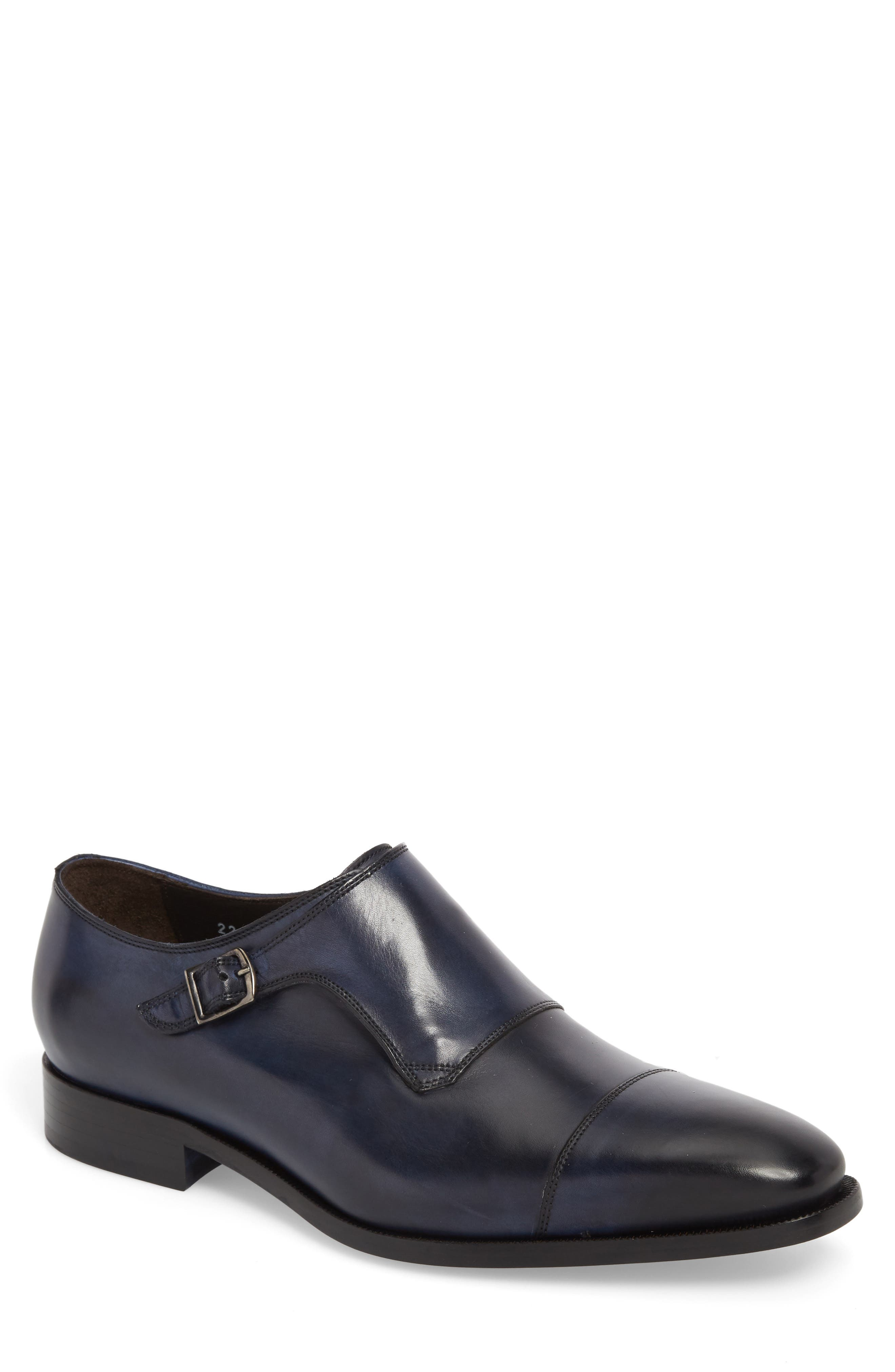 Ludlum Cap Toe Monk Shoe,                             Main thumbnail 1, color,                             Blue Leather