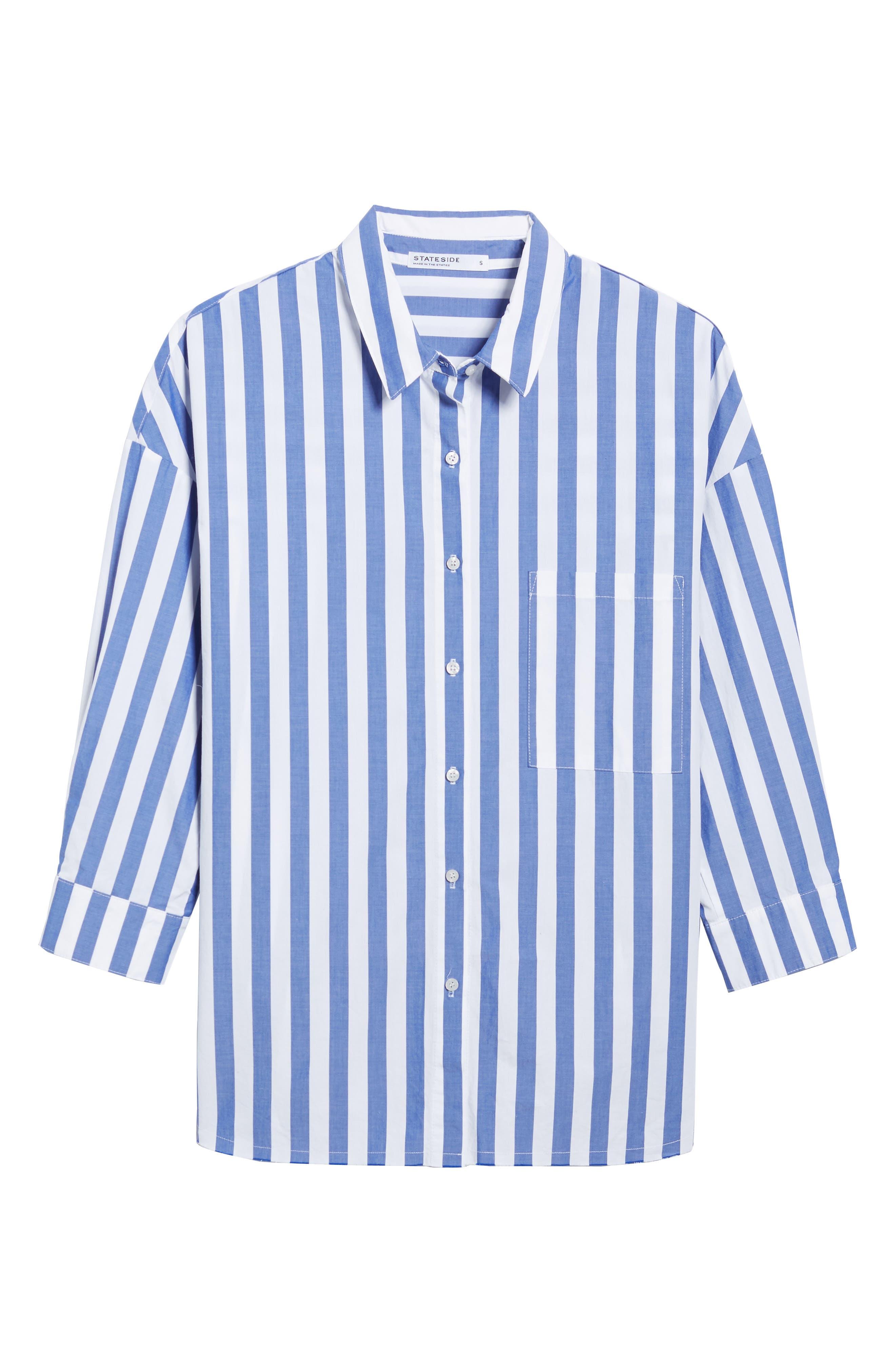 Stripe Oversize Shirt,                             Alternate thumbnail 7, color,                             Blue Stripe