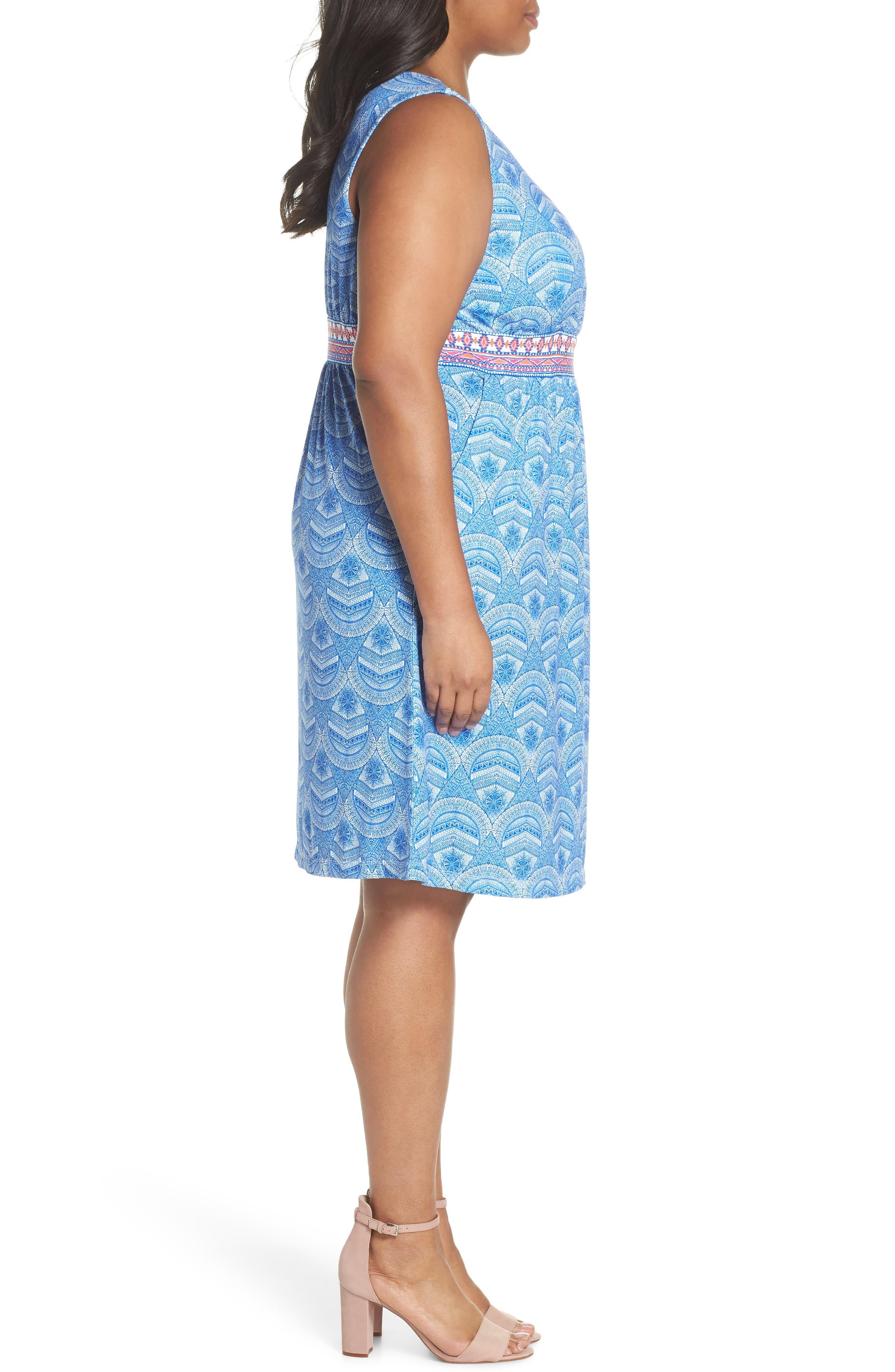 Rosine Print A-Line Dress,                             Alternate thumbnail 3, color,                             Lapis Blue