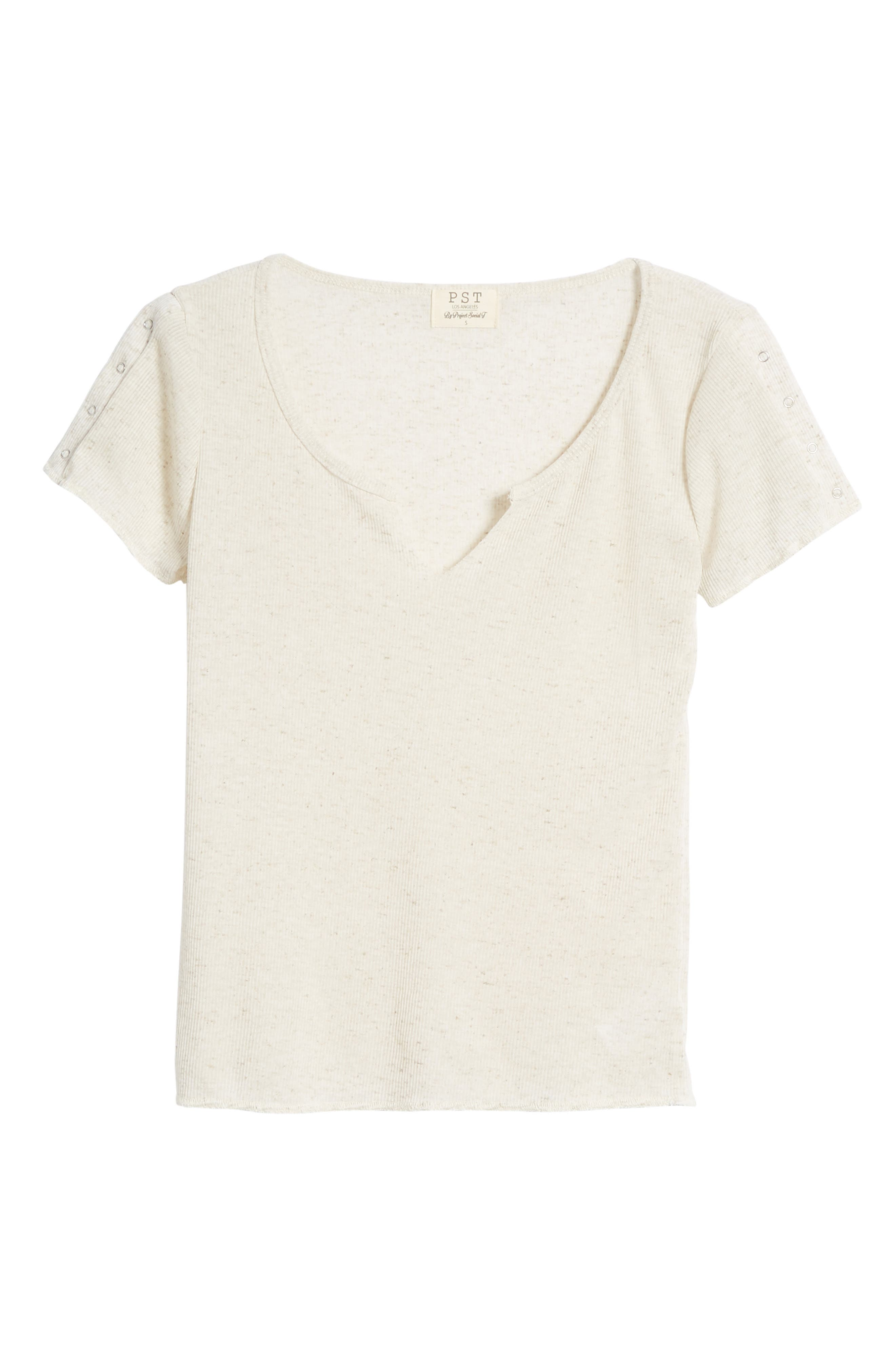 Notch Neck Tee,                             Alternate thumbnail 7, color,                             Linen Oatmeal