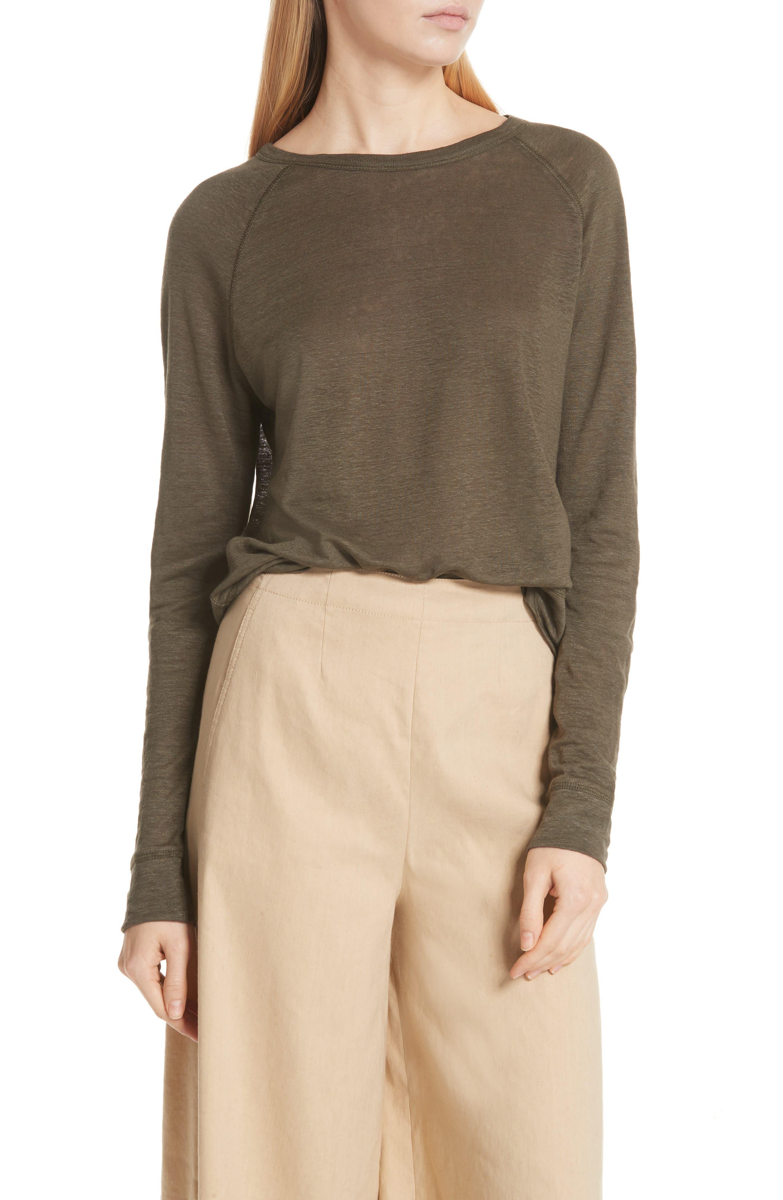 Linen Pullover,                         Main,                         color, Bayleaf