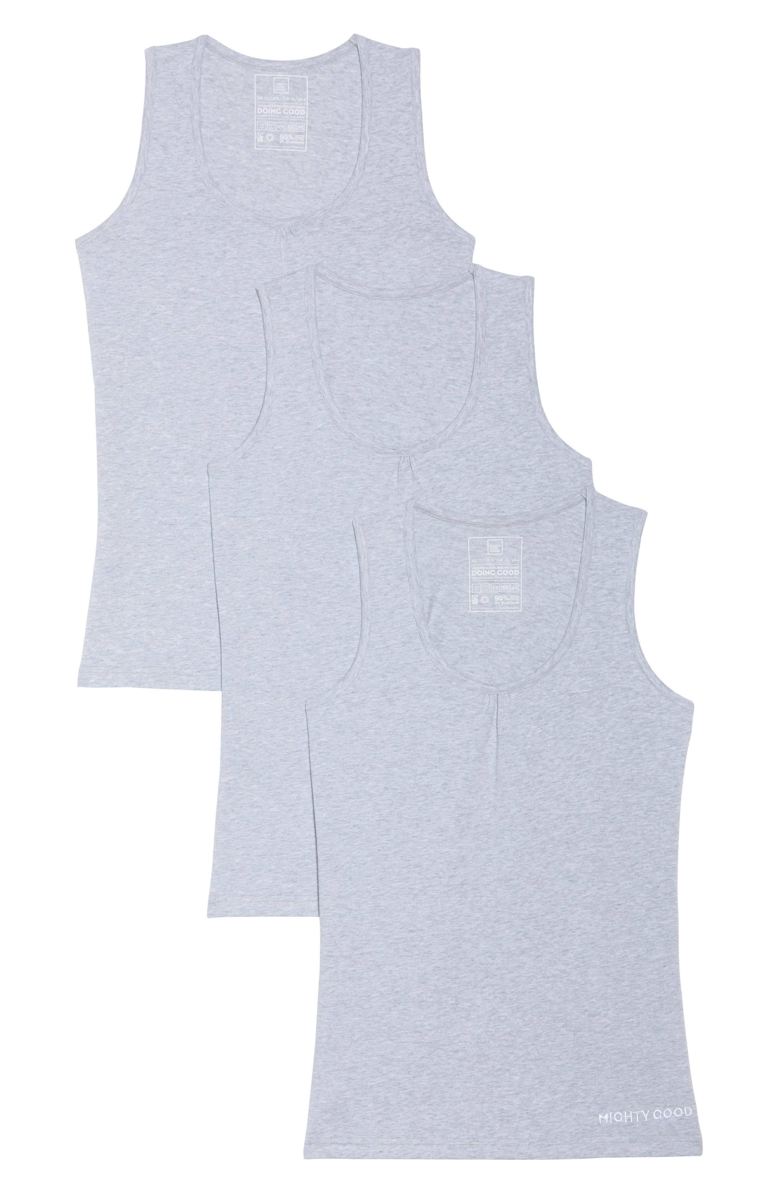 3-Pack Stretch Organic Cotton Muscle Tees,                             Alternate thumbnail 2, color,                             Grey Marle