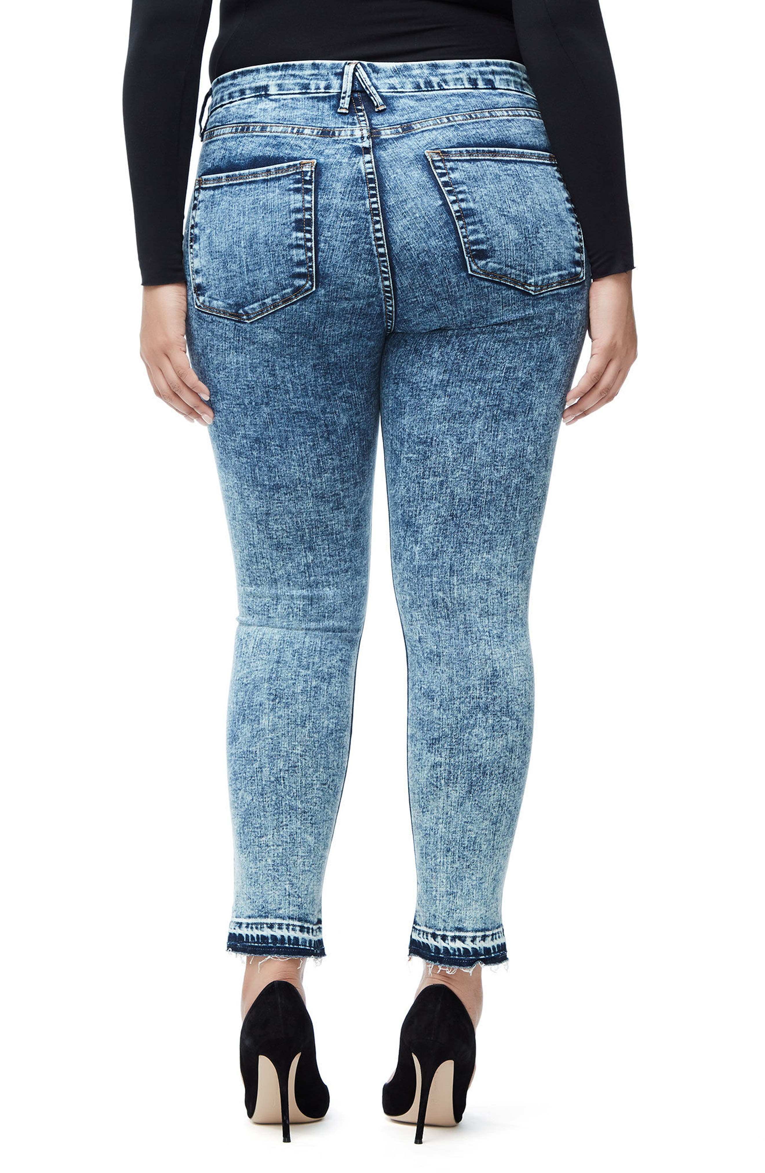 Good Waist Acid Wash Crop Skinny Jeans,                             Alternate thumbnail 5, color,                             Blue145