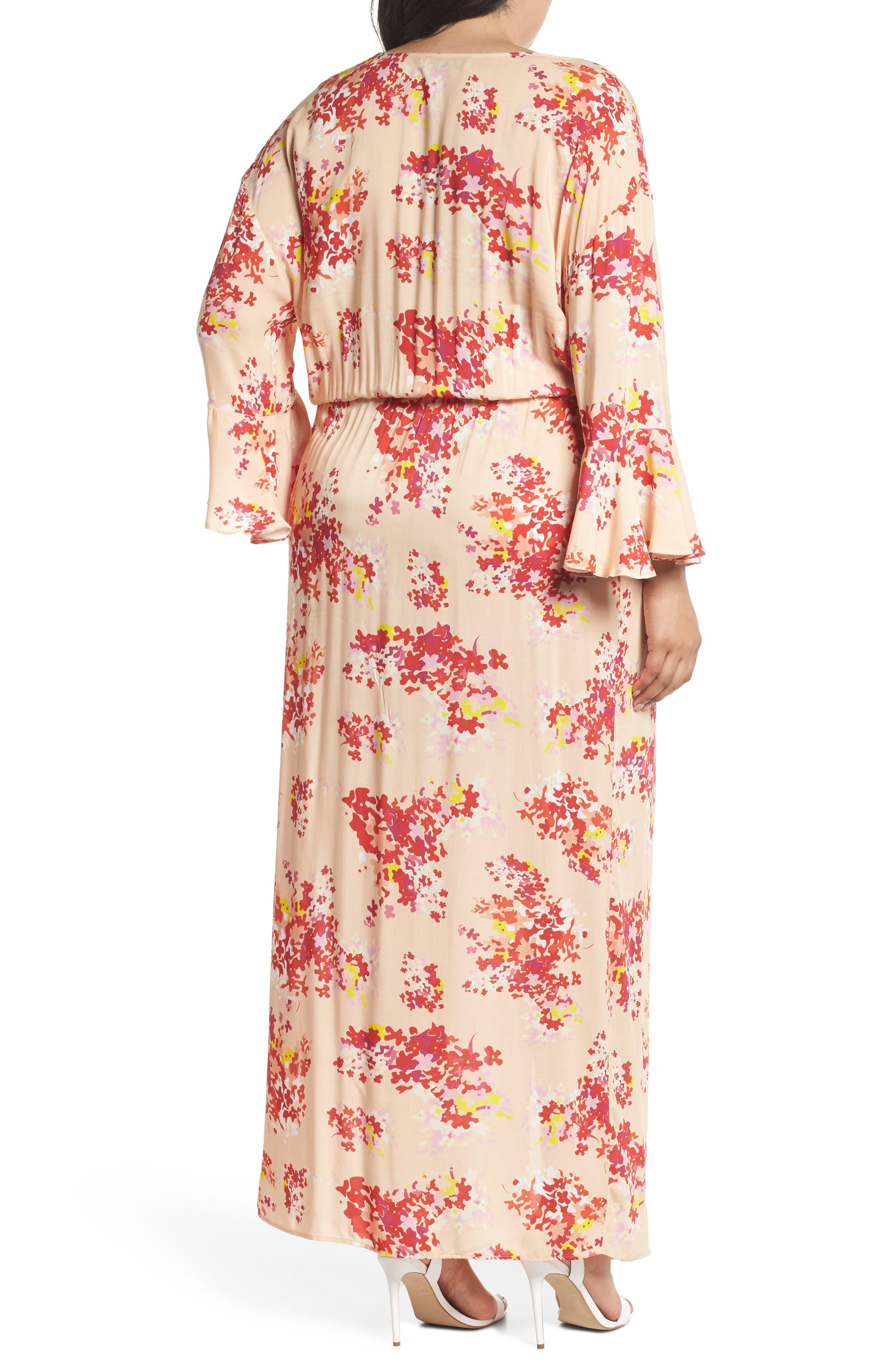 The Stasis Wrap Maxi Dress,                             Alternate thumbnail 2, color,                             Peach