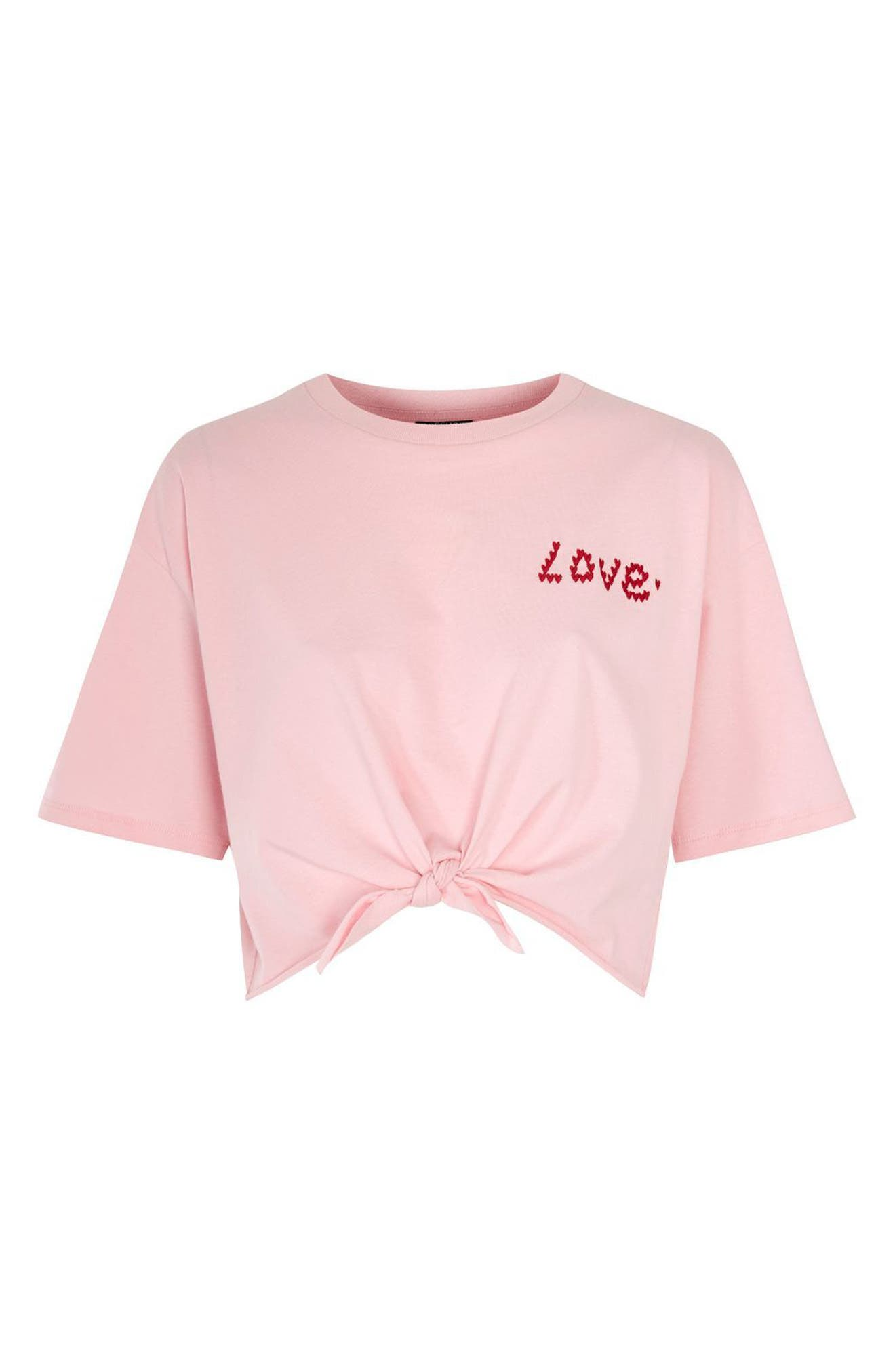 Knot Front Love T-Shirt,                             Alternate thumbnail 4, color,                             Pink