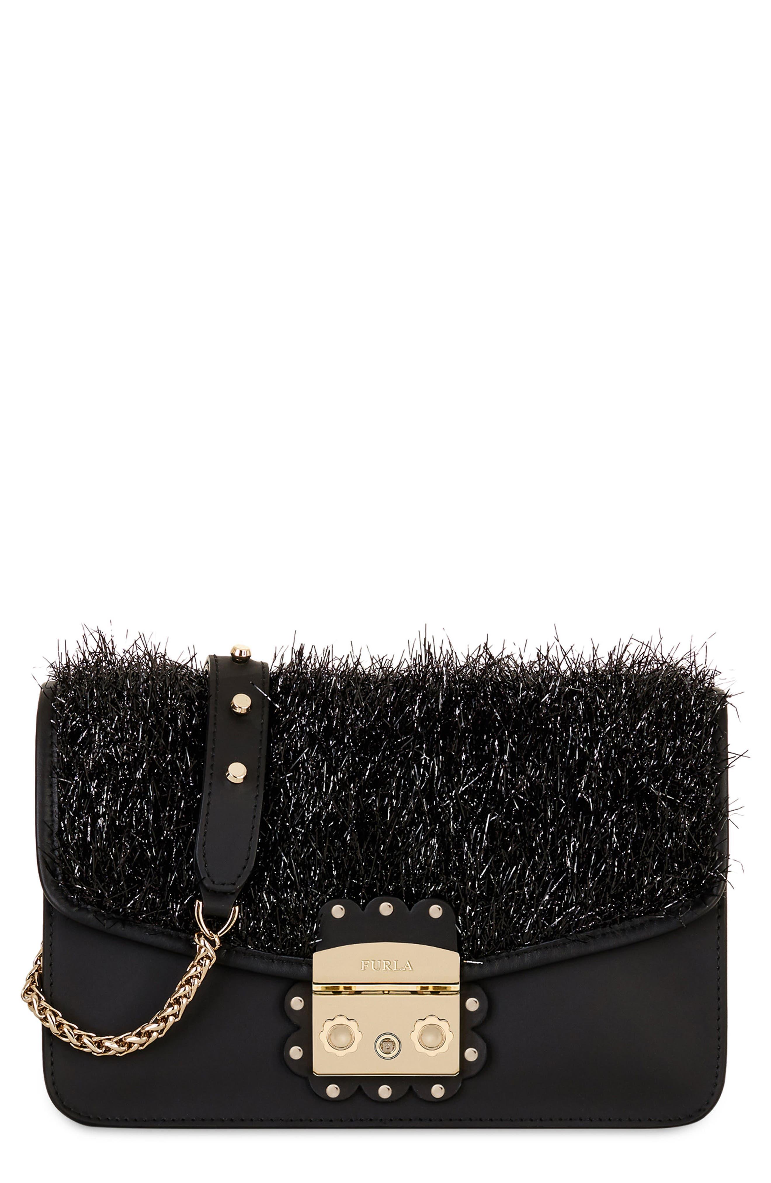 Metropolis Arabesque Leather Shoulder Bag,                             Main thumbnail 1, color,                             Onyx