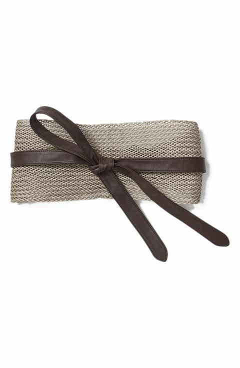 Lafayette 148 New York Obi Linen & Leather Belt