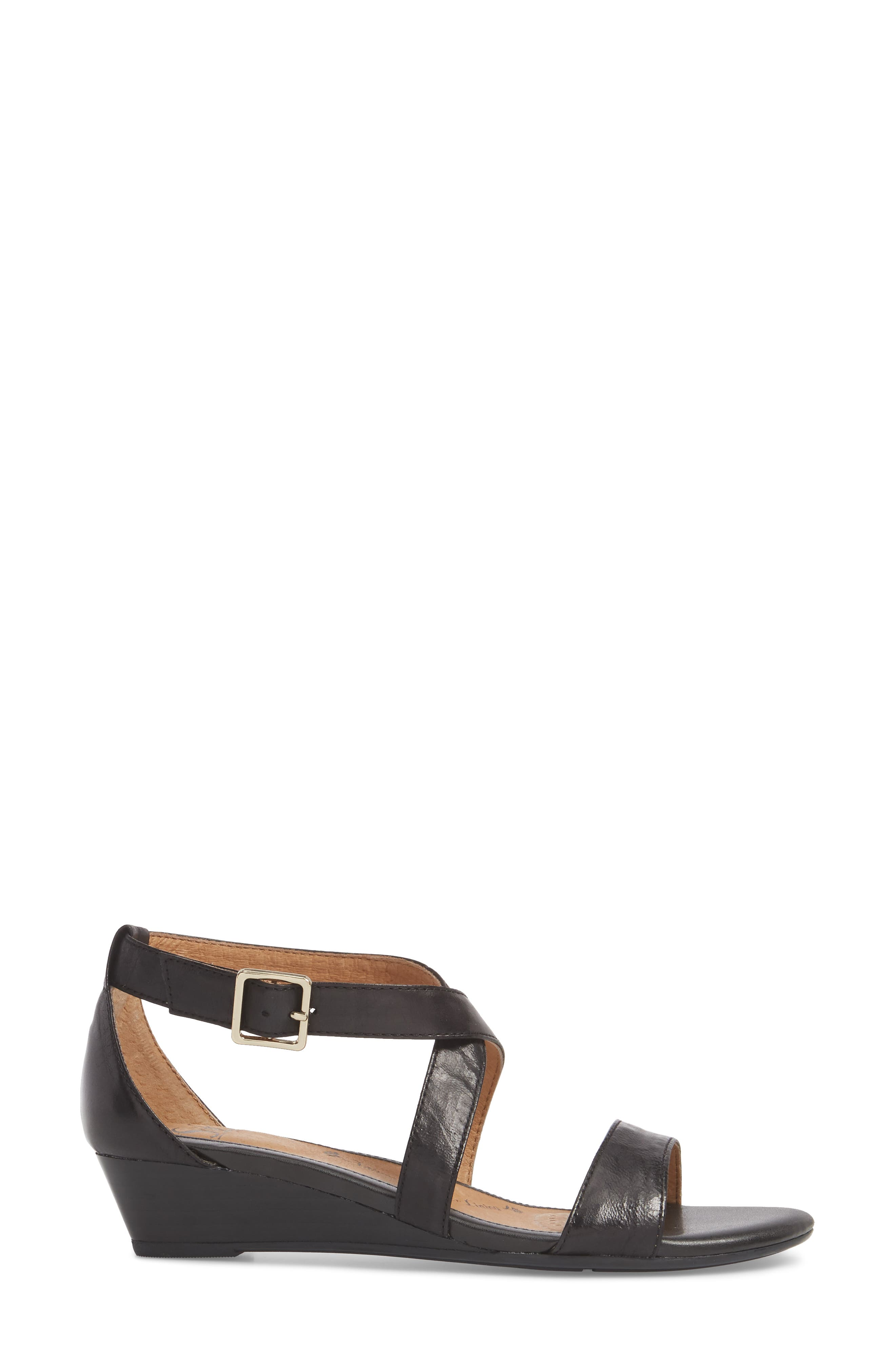 'Innis' Low Wedge Sandal,                             Alternate thumbnail 3, color,                             Black Leather
