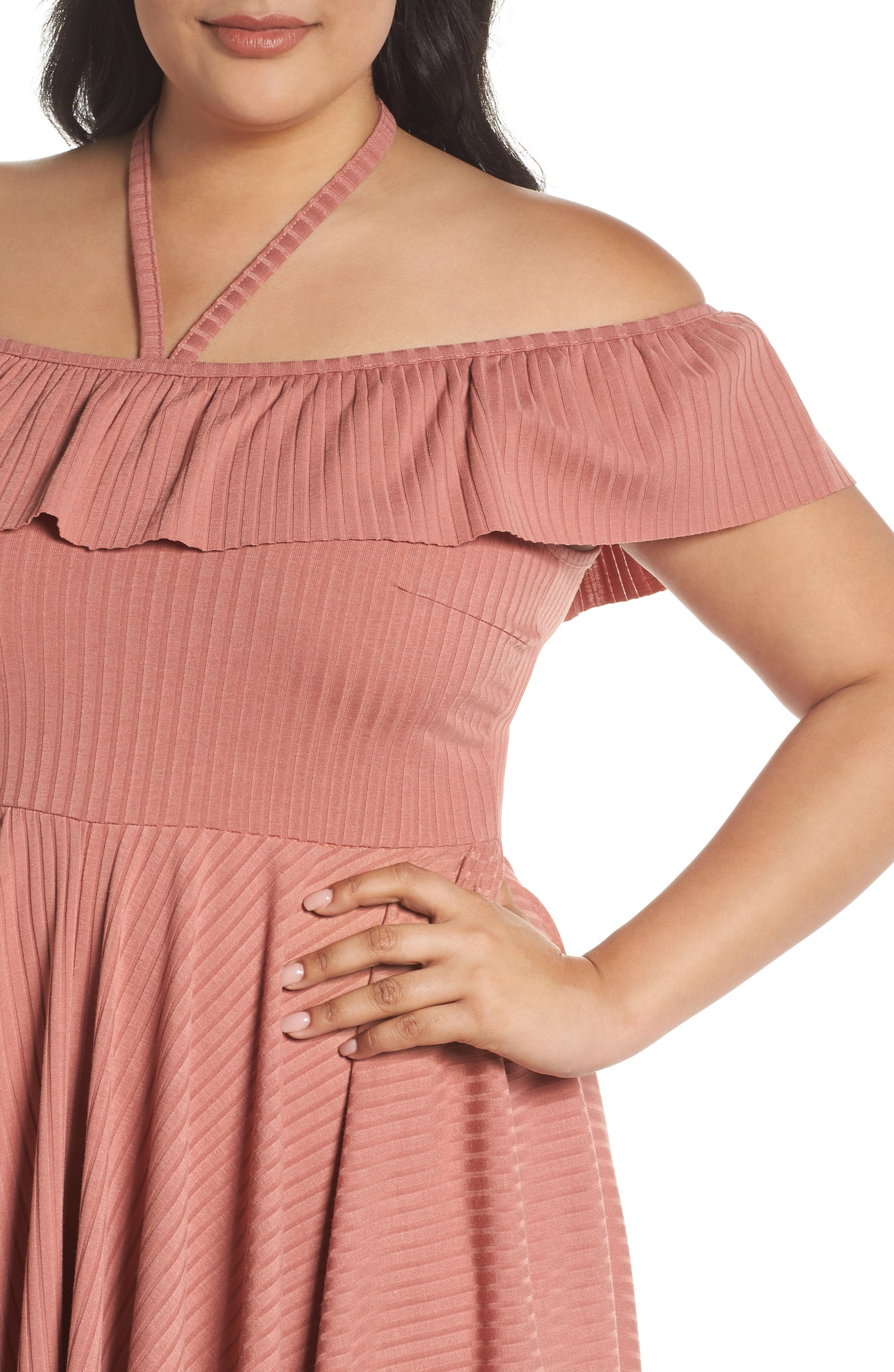 Asymmetrical Ribbed Off the Shoulder Dress,                             Alternate thumbnail 4, color,                             Blush