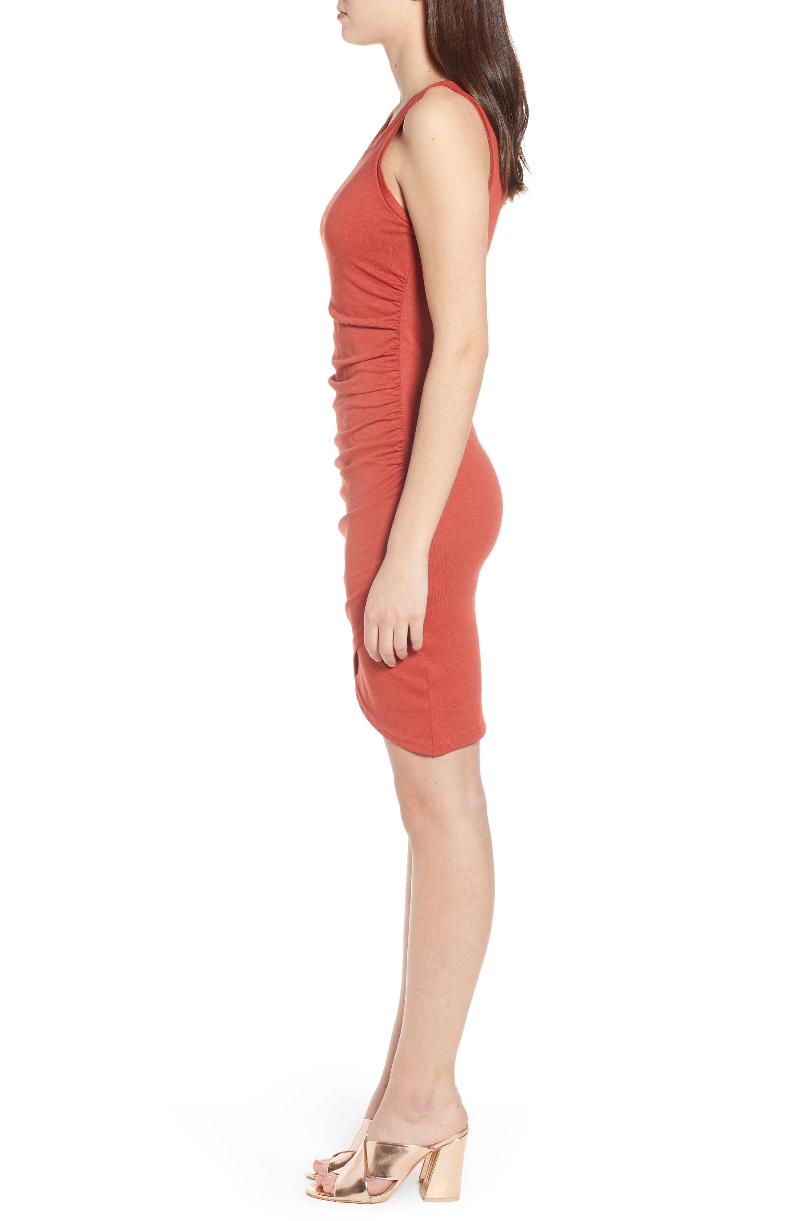 Ruched Body-Con Tank Dress,                             Alternate thumbnail 3, color,                             Rust Bossa Nova