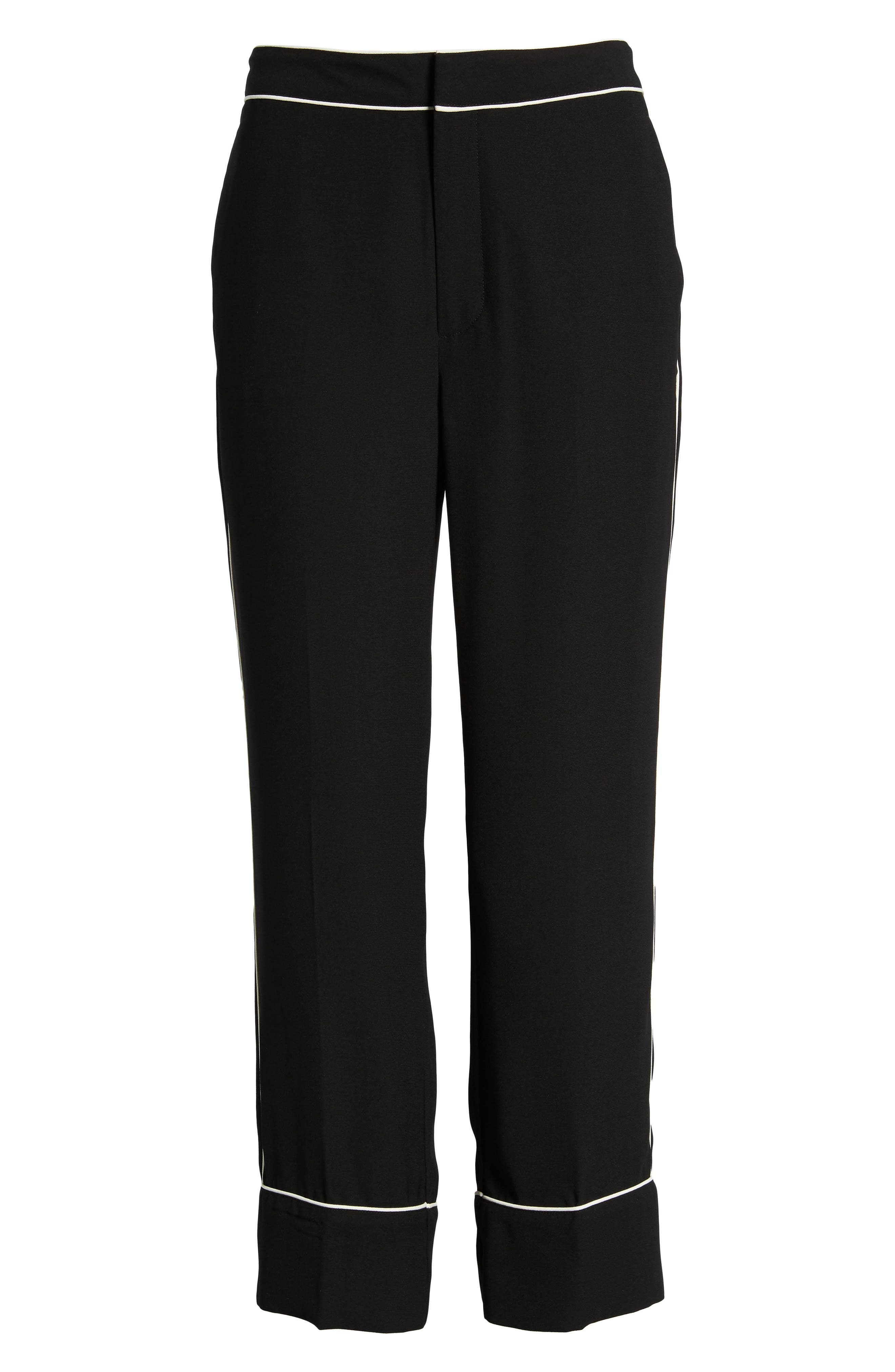 Ankle Pants,                             Alternate thumbnail 7, color,                             Black/ Bright White Piping