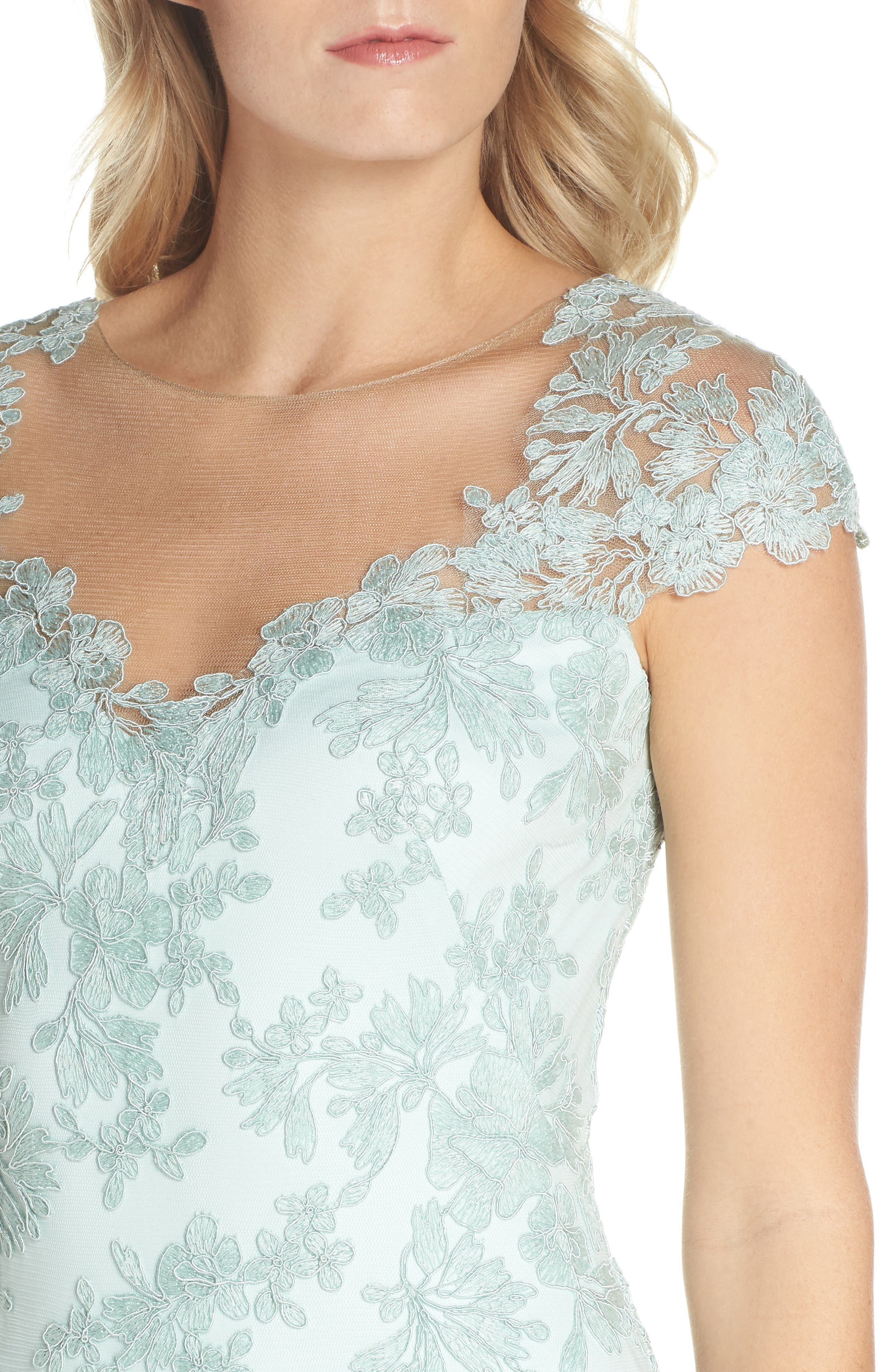 Embroidered Corded Lace Gown,                             Alternate thumbnail 4, color,                             Mint