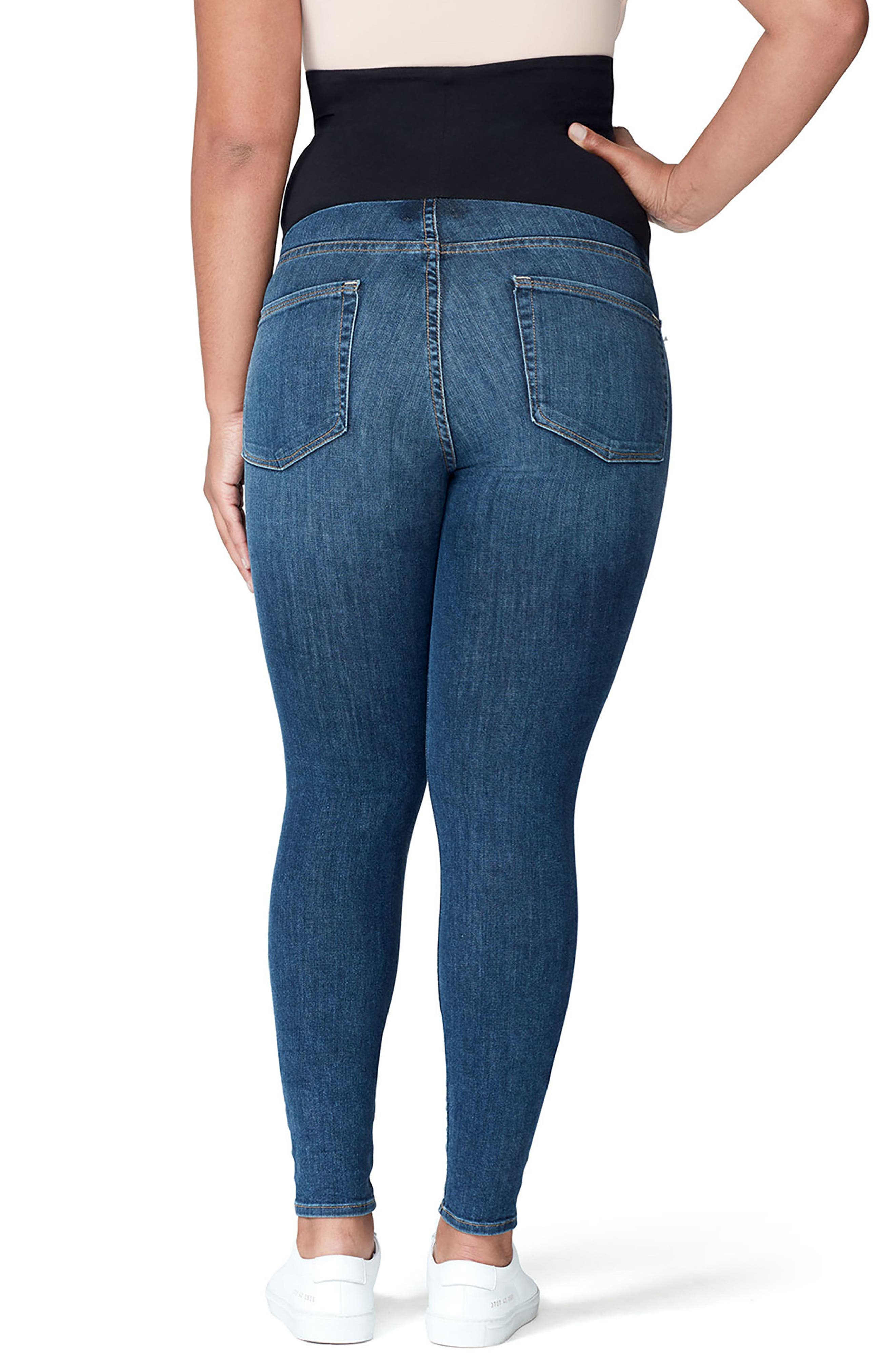 Good Mama The Home Stretch Maternity Skinny Jeans,                             Alternate thumbnail 3, color,                             Blue