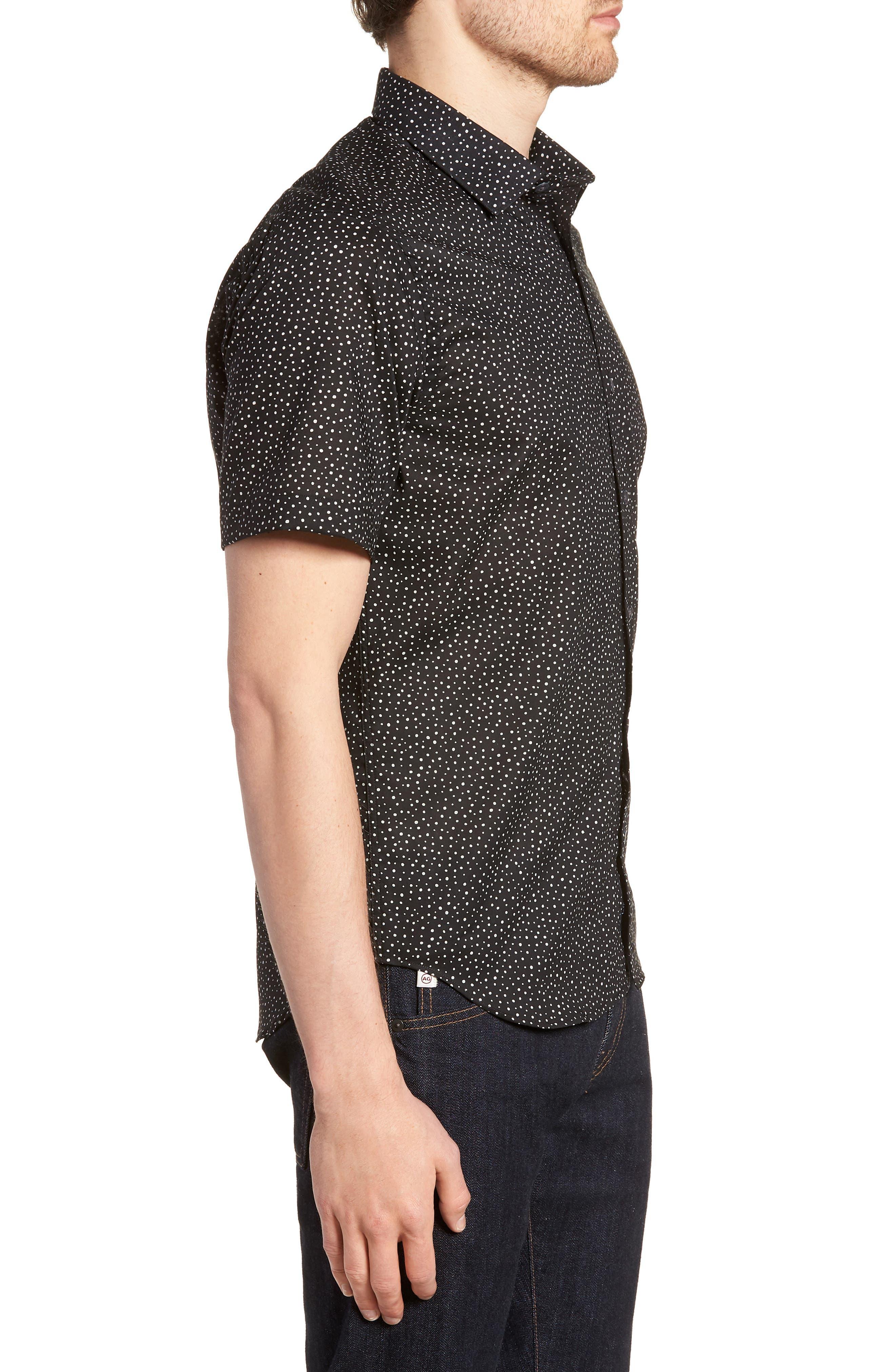 Tyler Novelty Trim Fit Sport Shirt,                             Alternate thumbnail 4, color,                             Black