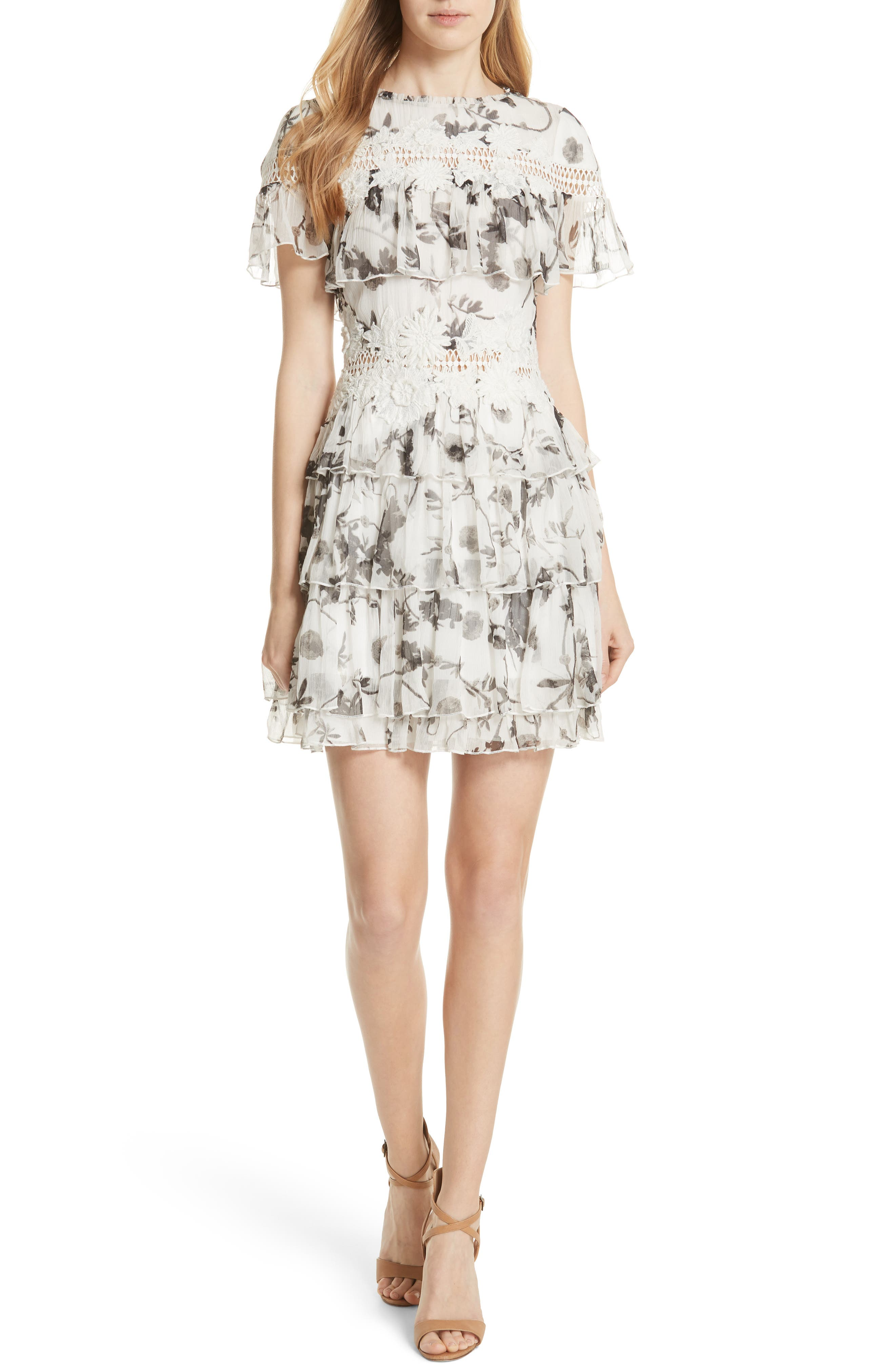 Alice + Olivia Paola Embroidery Accent Ruffle Dress