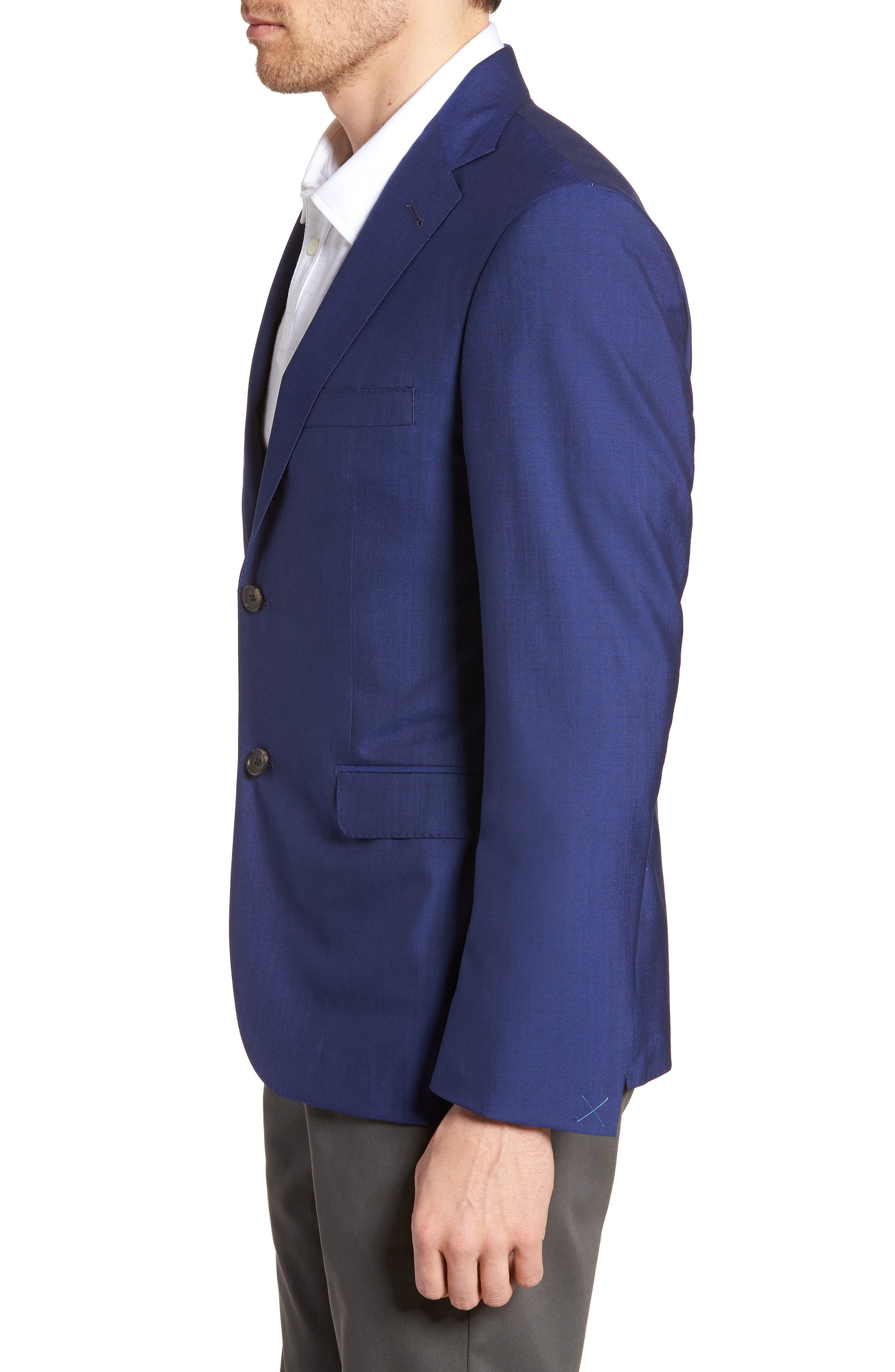 Shelby Trim Fit Wool Blazer,                             Alternate thumbnail 3, color,                             High Blue