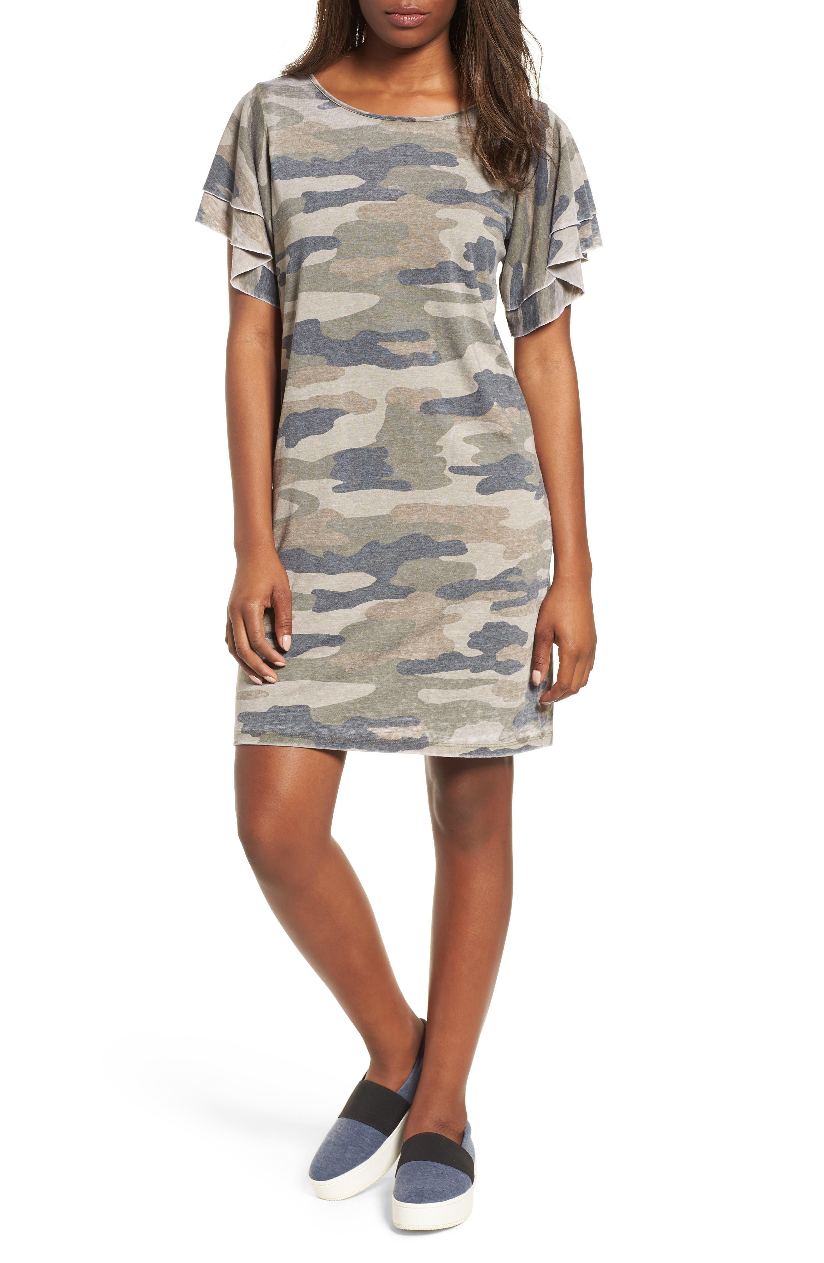 Camo Print Dress,                             Main thumbnail 1, color,                             Multi