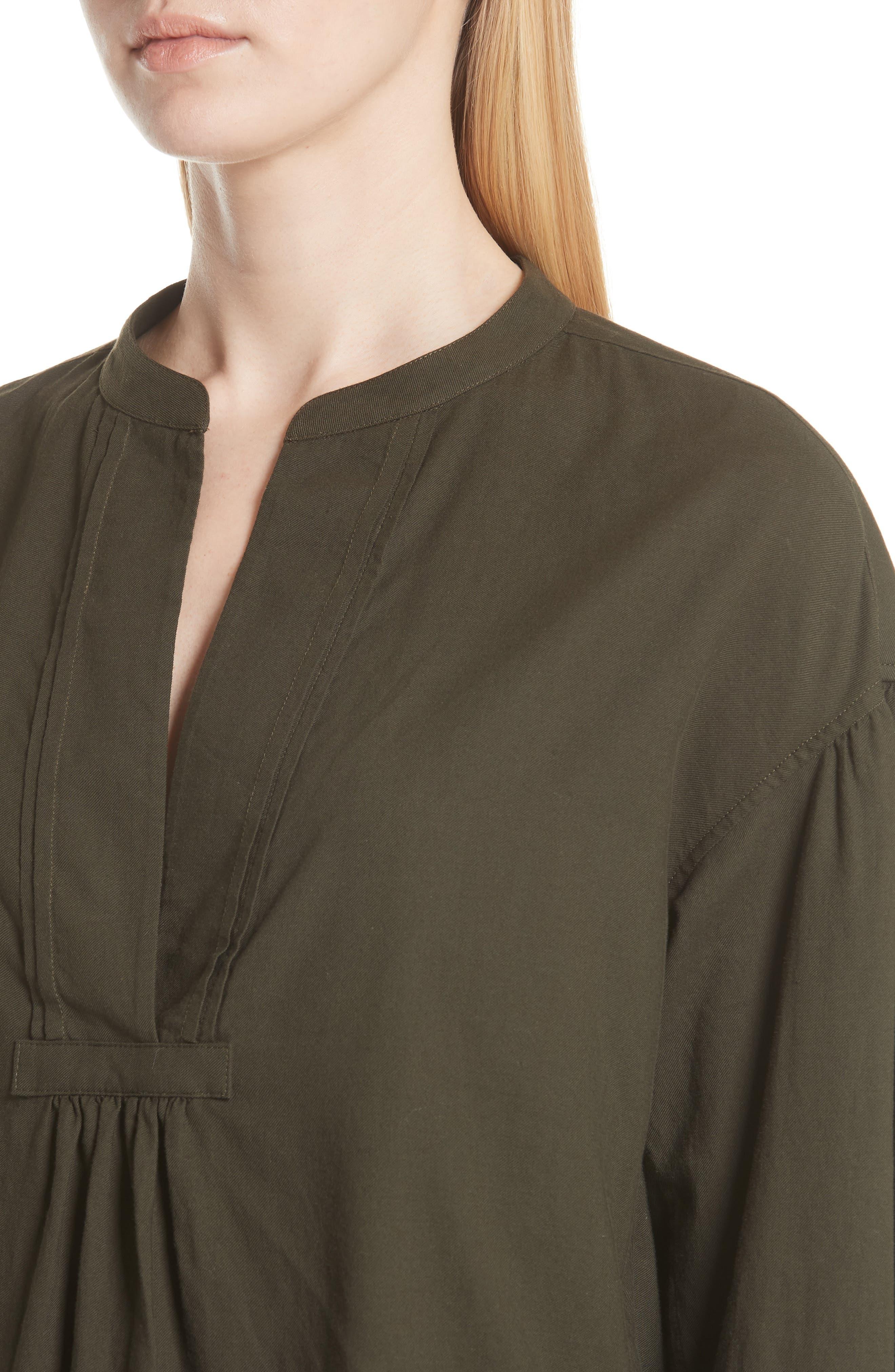 Shirred Cotton Blouse,                             Alternate thumbnail 4, color,                             Pinon Green