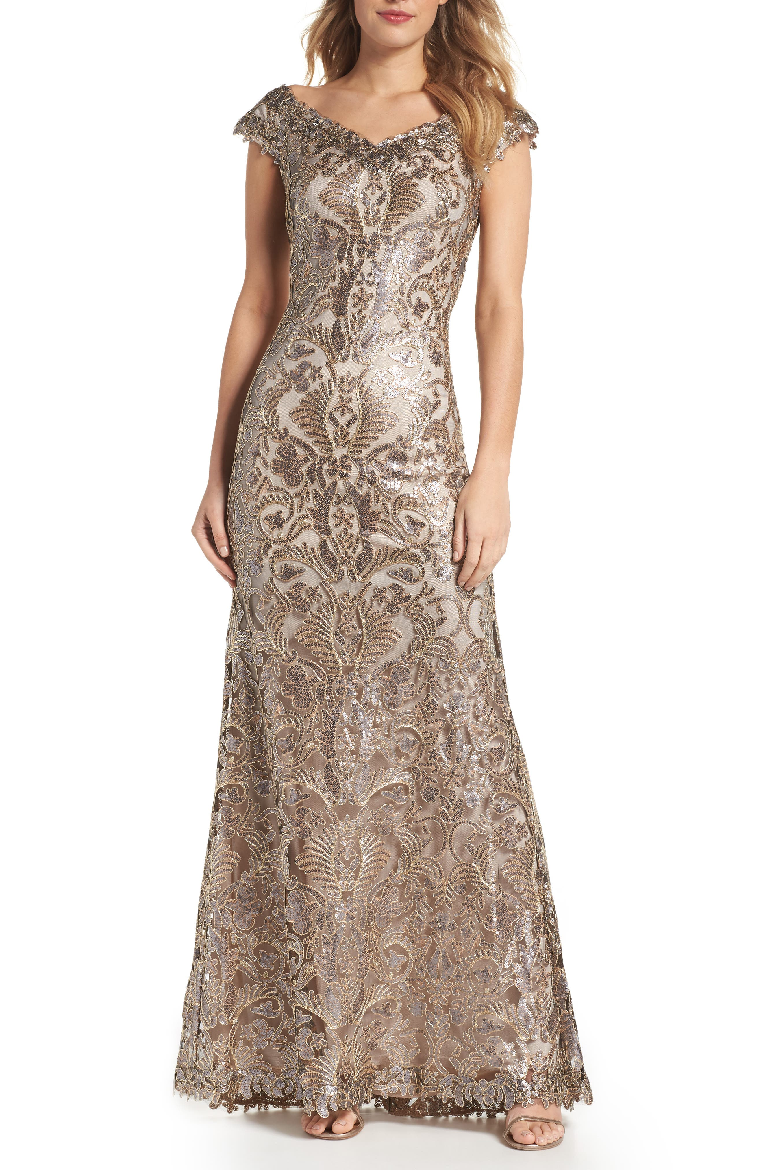 Embroidered Sequin A-Line Gown,                             Main thumbnail 1, color,                             Copper Shadow