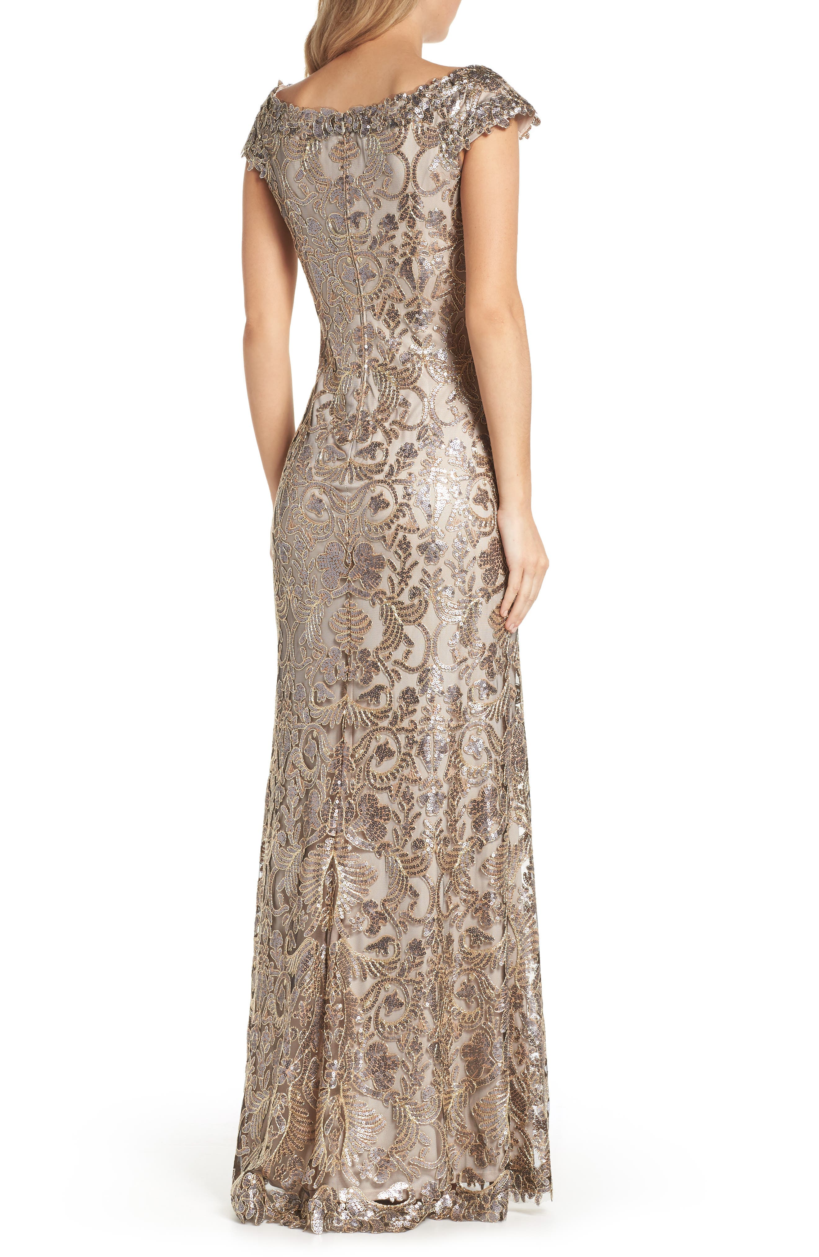 Embroidered Sequin A-Line Gown,                             Alternate thumbnail 2, color,                             Copper Shadow