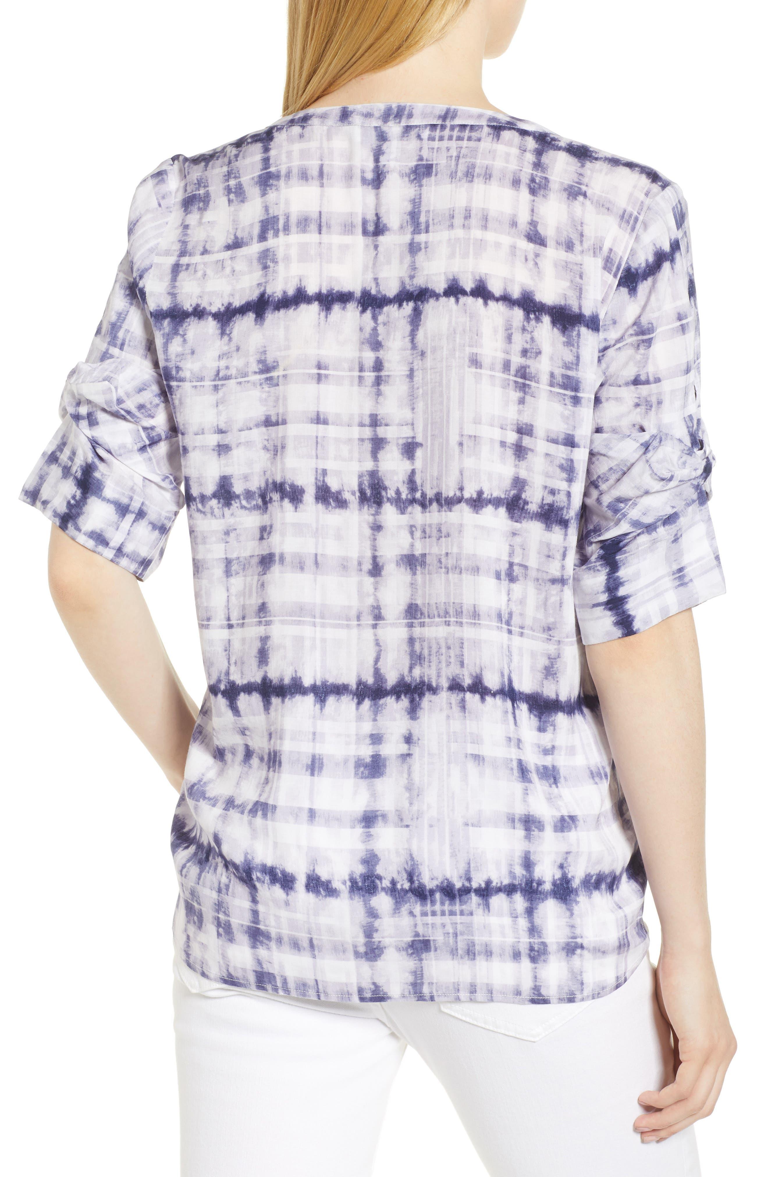Shibori Plaid Gathered Sleeve Top,                             Alternate thumbnail 2, color,                             Evening Navy
