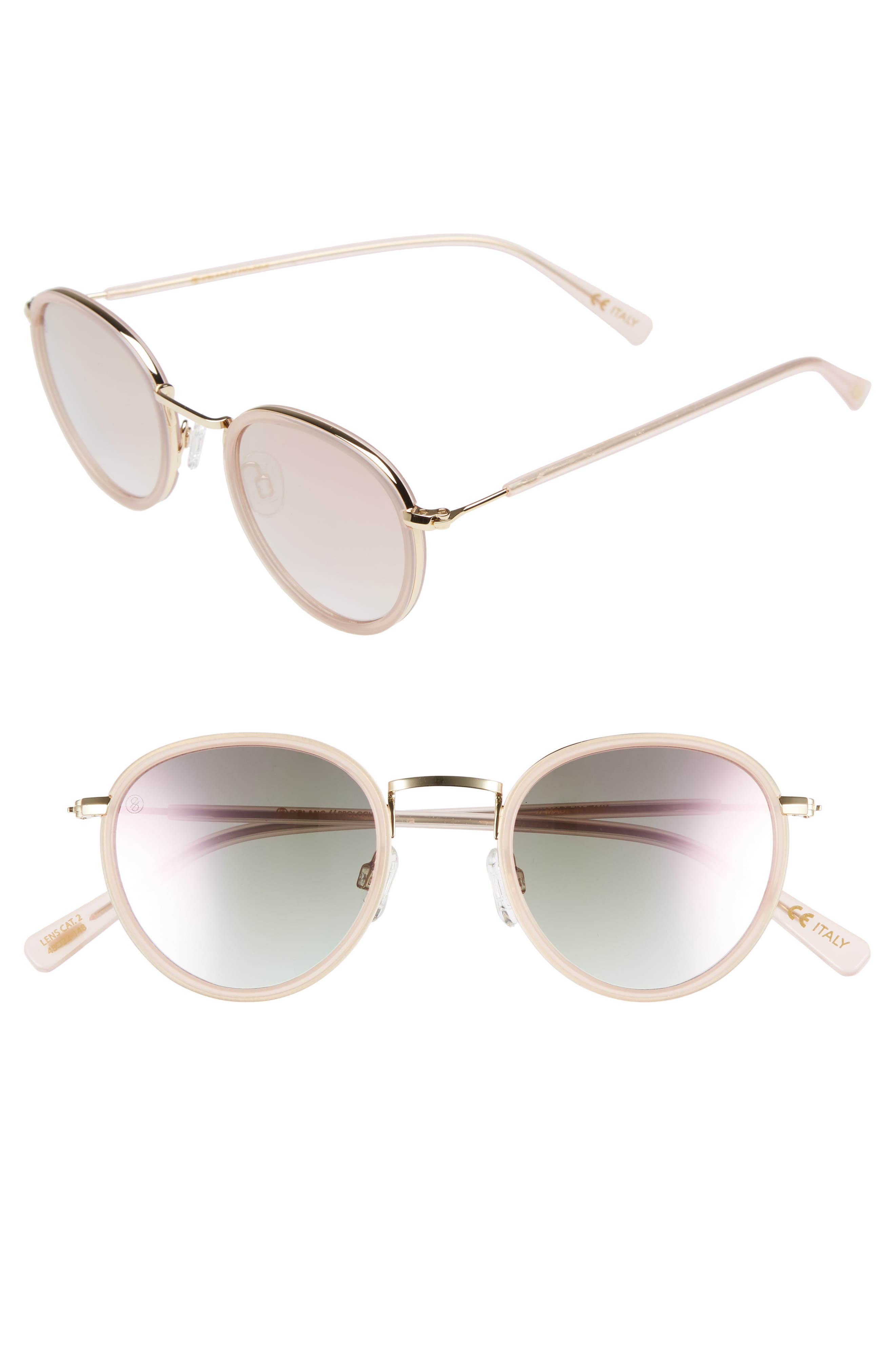 D'BLANC Prologue 48mm Round Sunglasses,                         Main,                         color, Blush/ Rose Flash