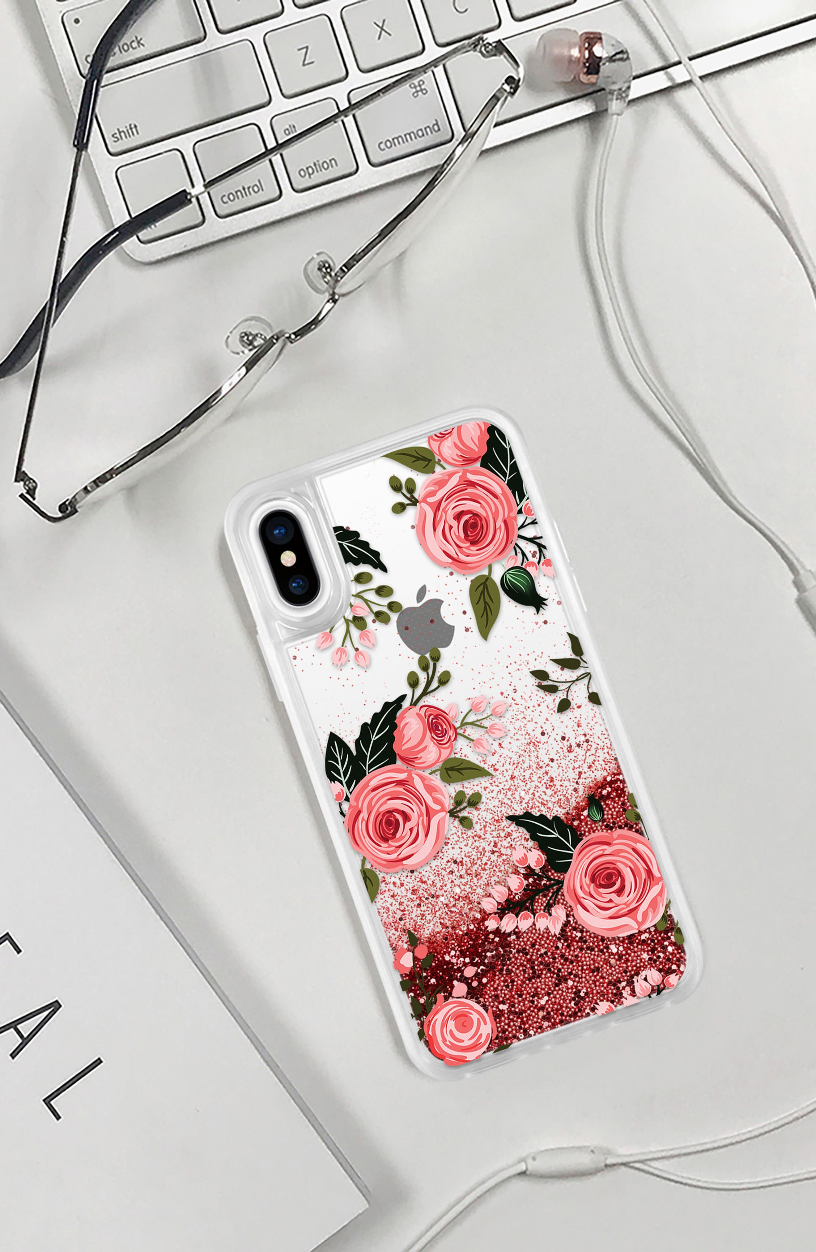 Pink Glitter Flowers iPhone X Case,                             Alternate thumbnail 5, color,