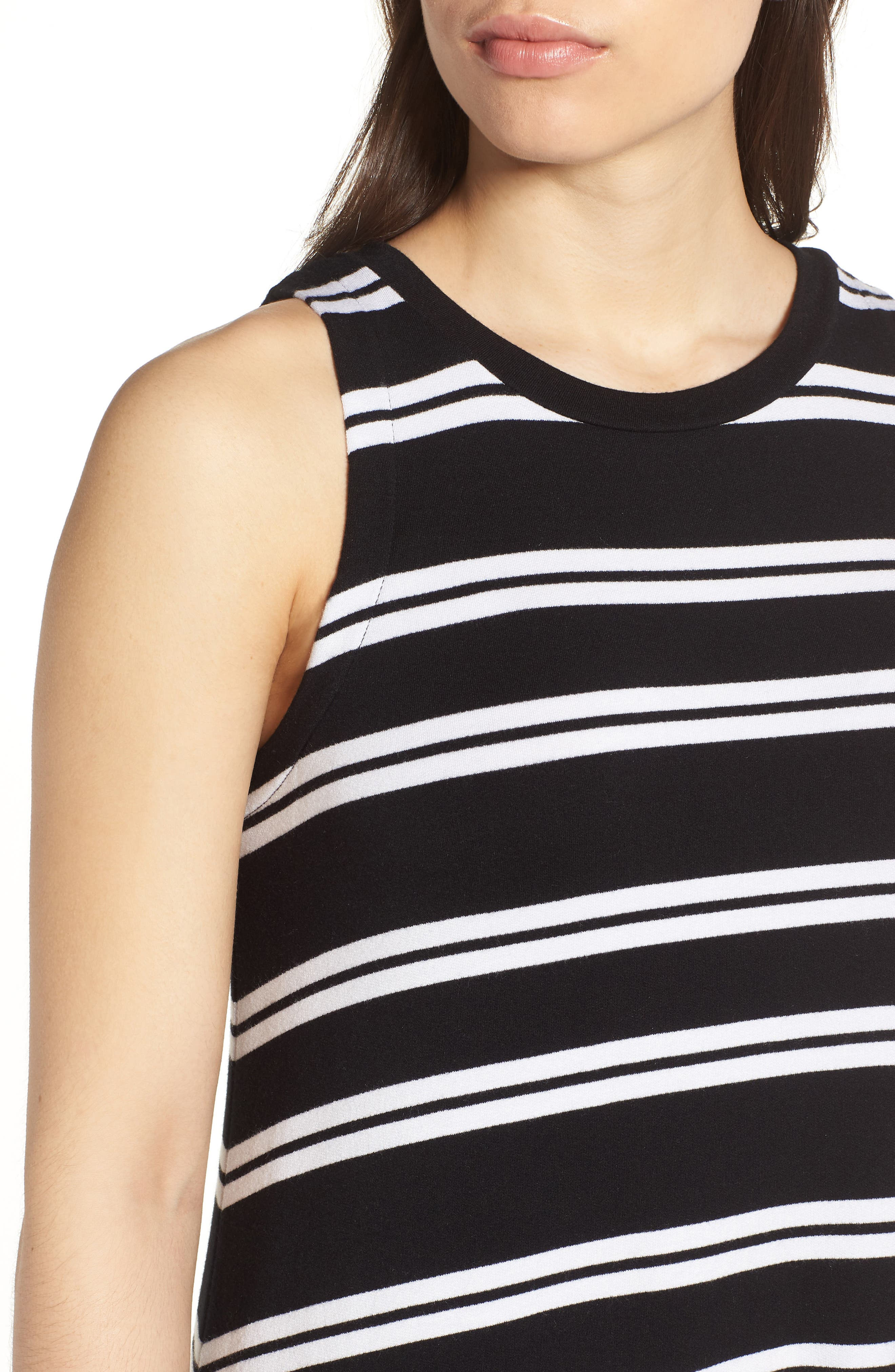 Sleeveless Stretch Knit Stripe Dress,                             Alternate thumbnail 4, color,                             Black