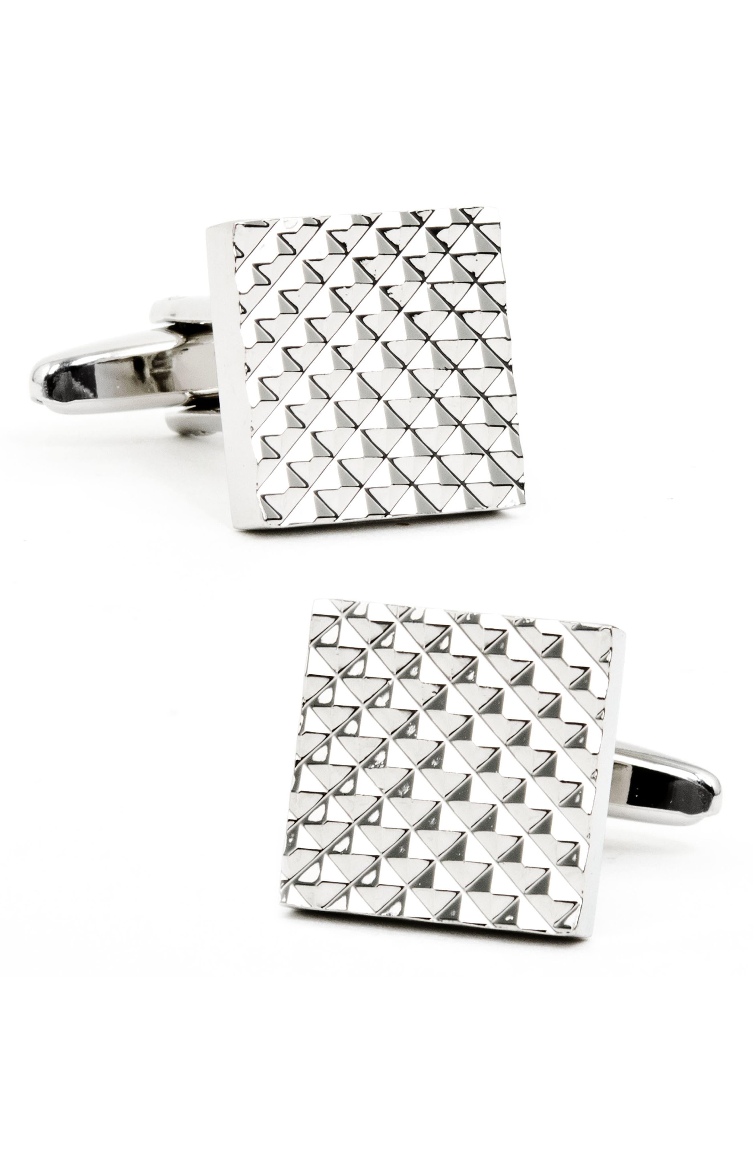 Apex Square Cuff Links,                         Main,                         color, Silver