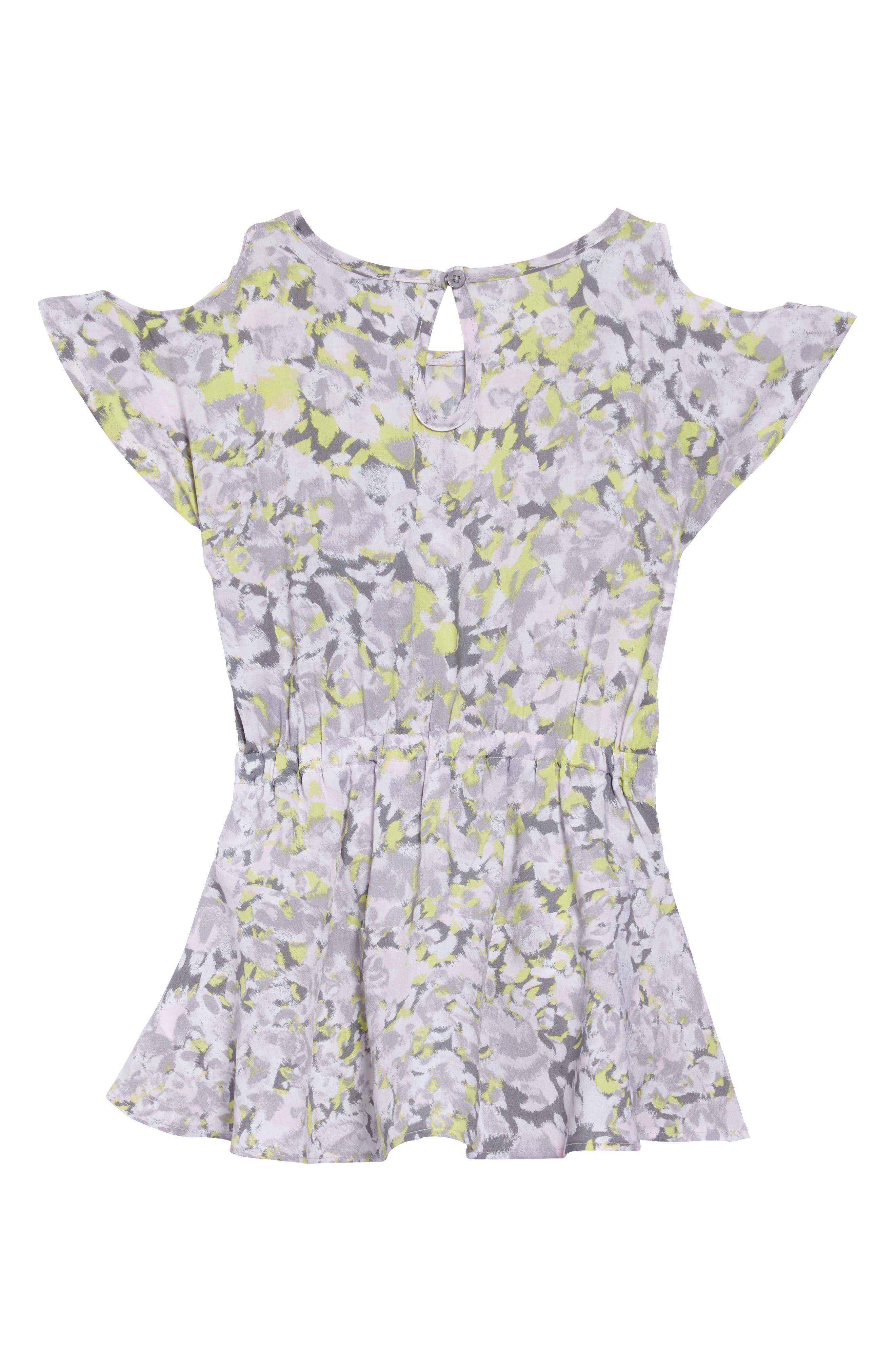 Print Cold Shoulder Dress,                             Alternate thumbnail 2, color,                             Light Grey