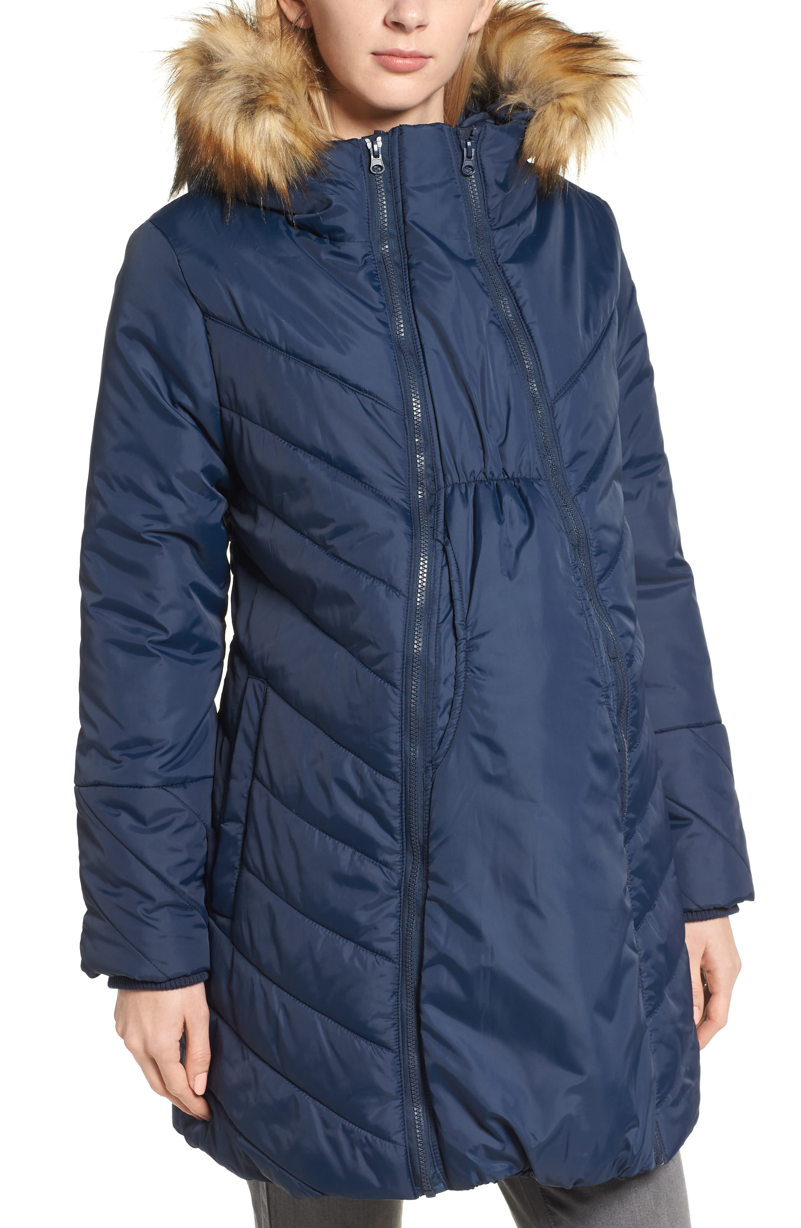 Faux Fur Trim Convertible Puffer 3-in-1 Maternity Jacket,                         Main,                         color, Navy