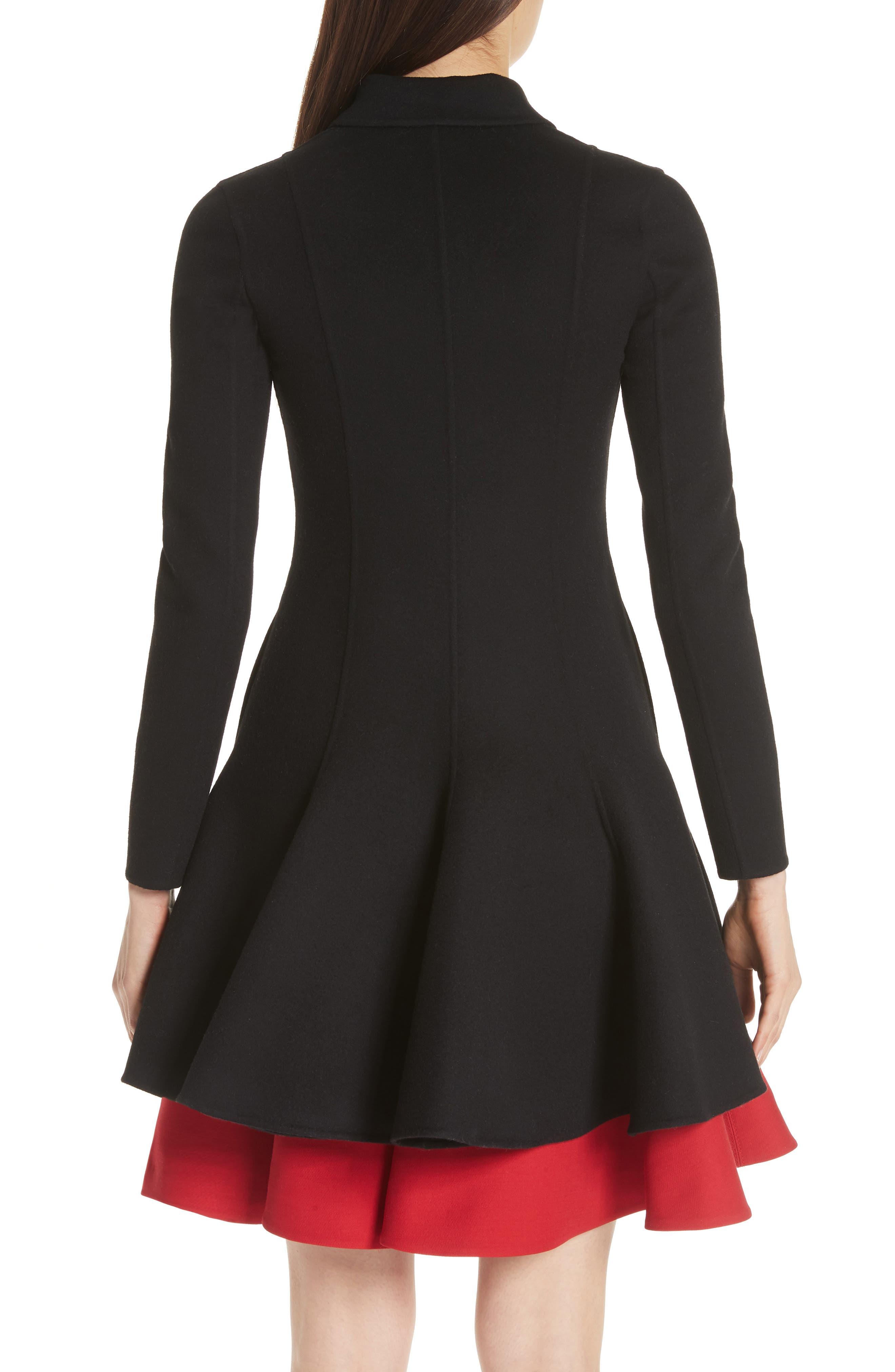 Compact Double Face Wool Peplum Coat,                             Alternate thumbnail 2, color,                             Black
