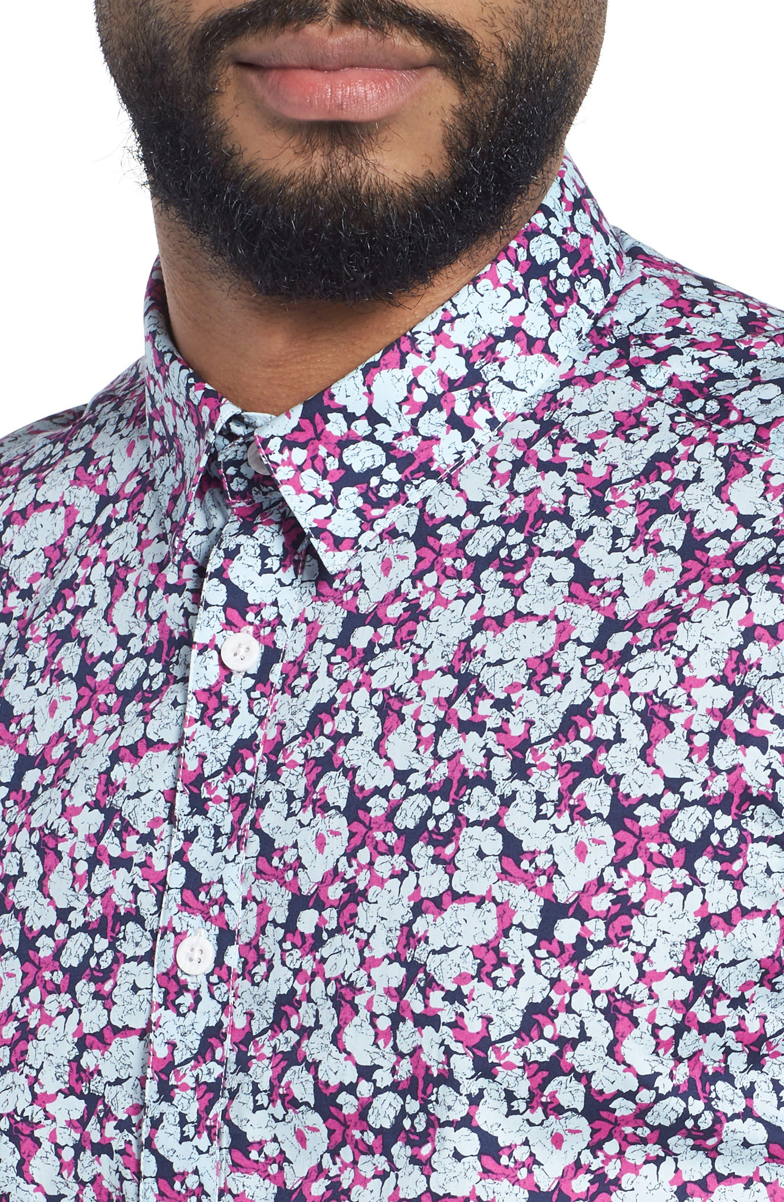Print Woven Short Sleeve Shirt,                             Alternate thumbnail 4, color,                             Pink Navy
