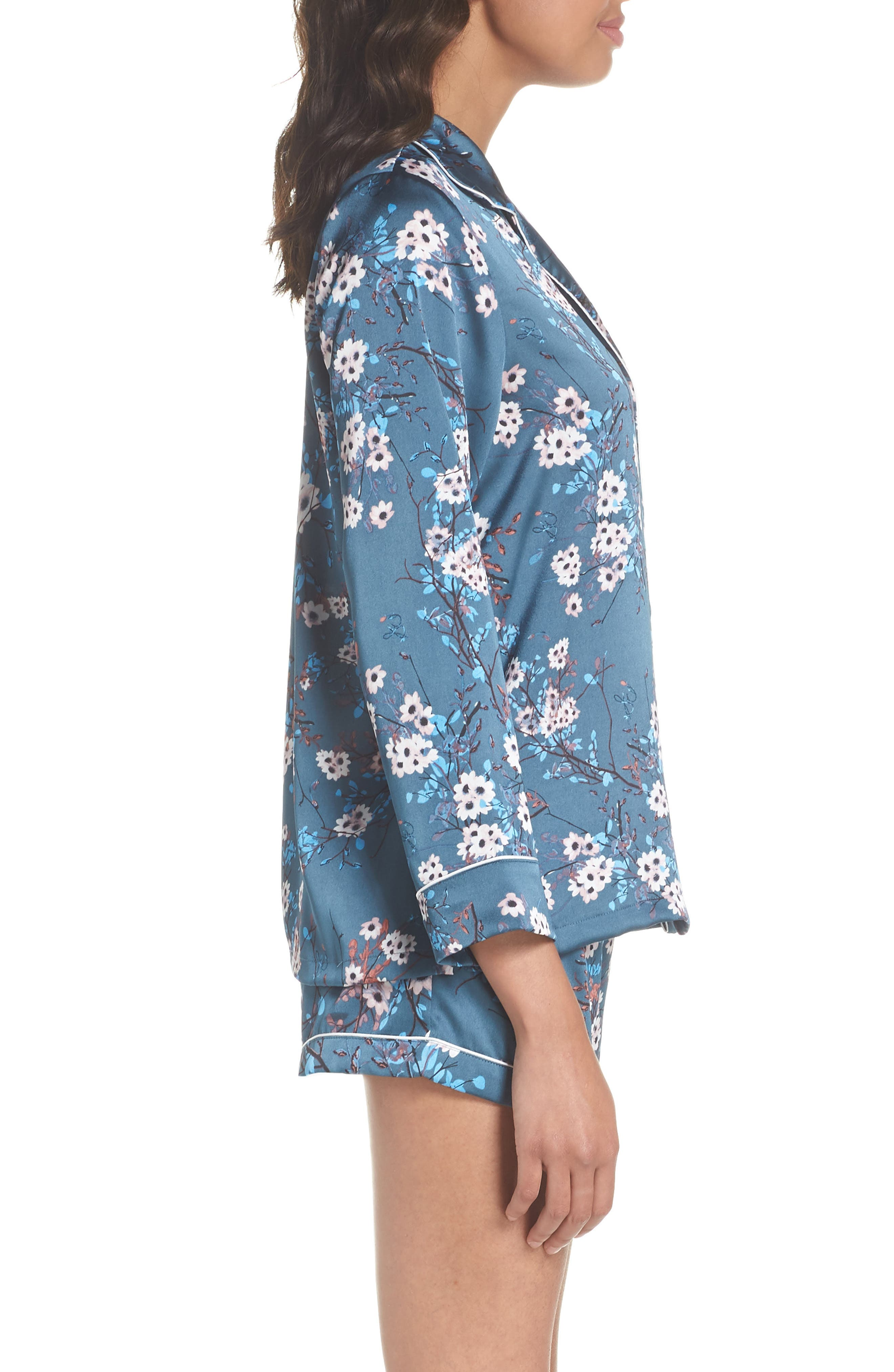 Short Pajamas,                             Alternate thumbnail 3, color,                             Mocorran Blue Floral