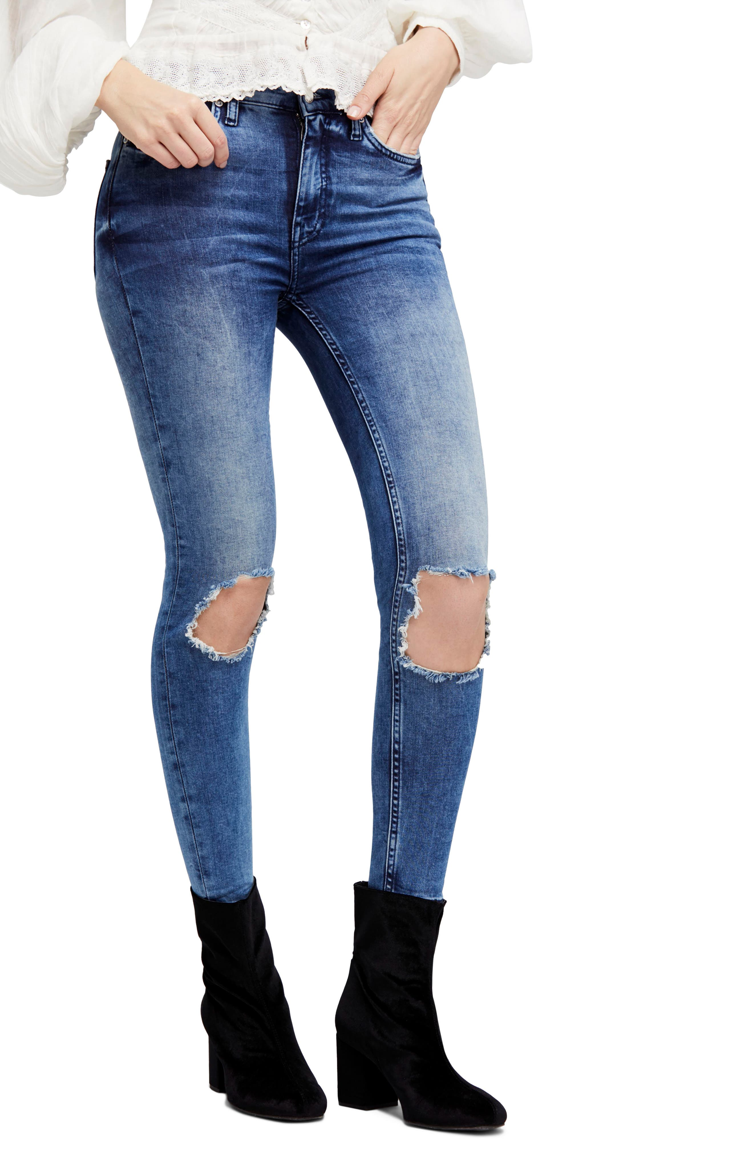 High Waist Ankle Skinny Jeans,                         Main,                         color, Turquoise