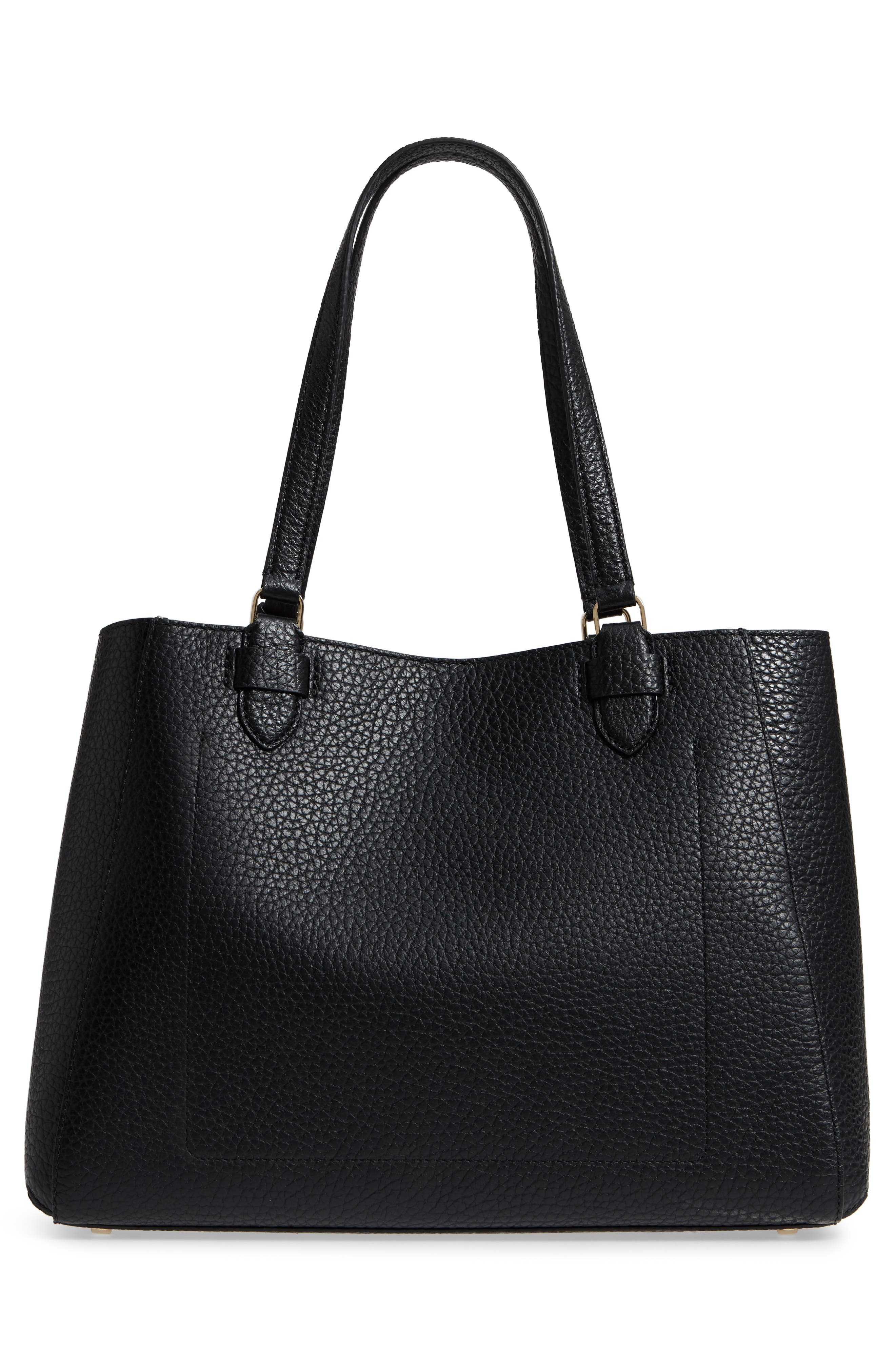 carter street - tyler leather tote,                             Alternate thumbnail 3, color,                             Black