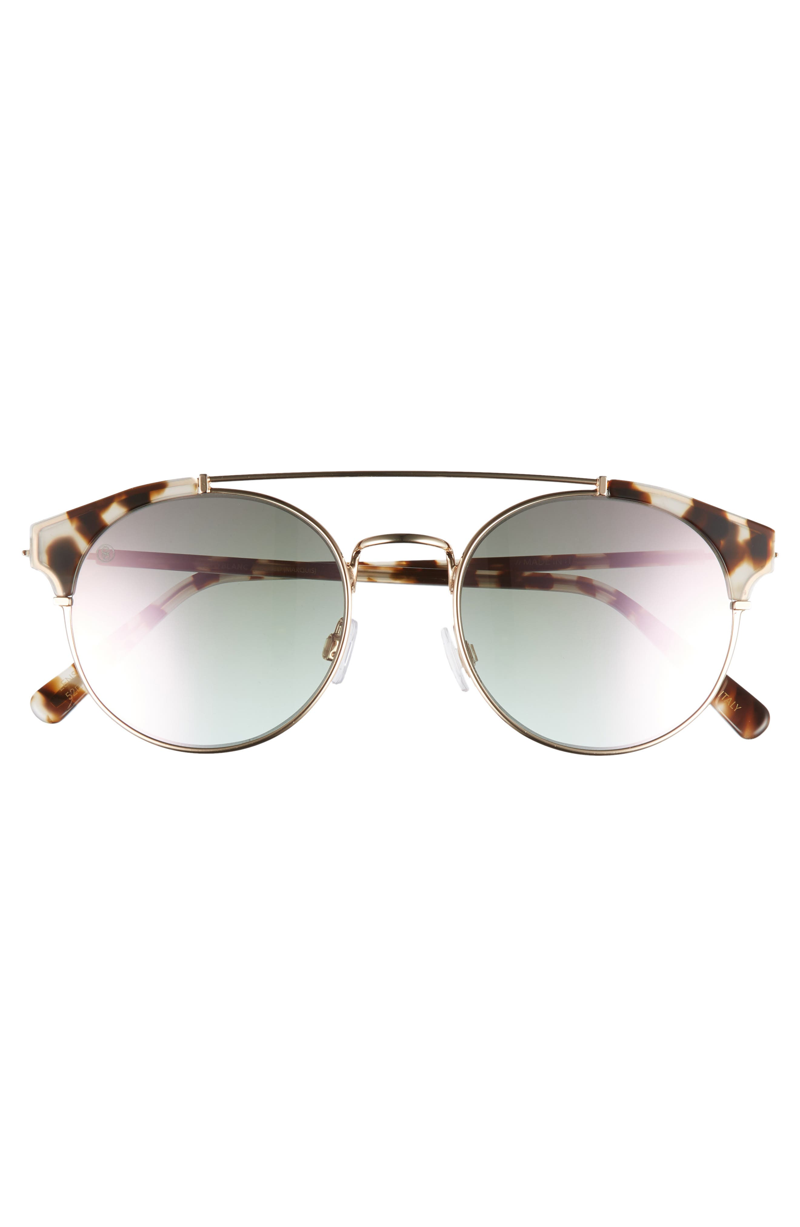 D'BLANC x Amuse Society Dosed Marquis 52mm Gradient Round Aviator Sunglasses,                             Alternate thumbnail 3, color,                             Snow Leopard/ Rose Flash