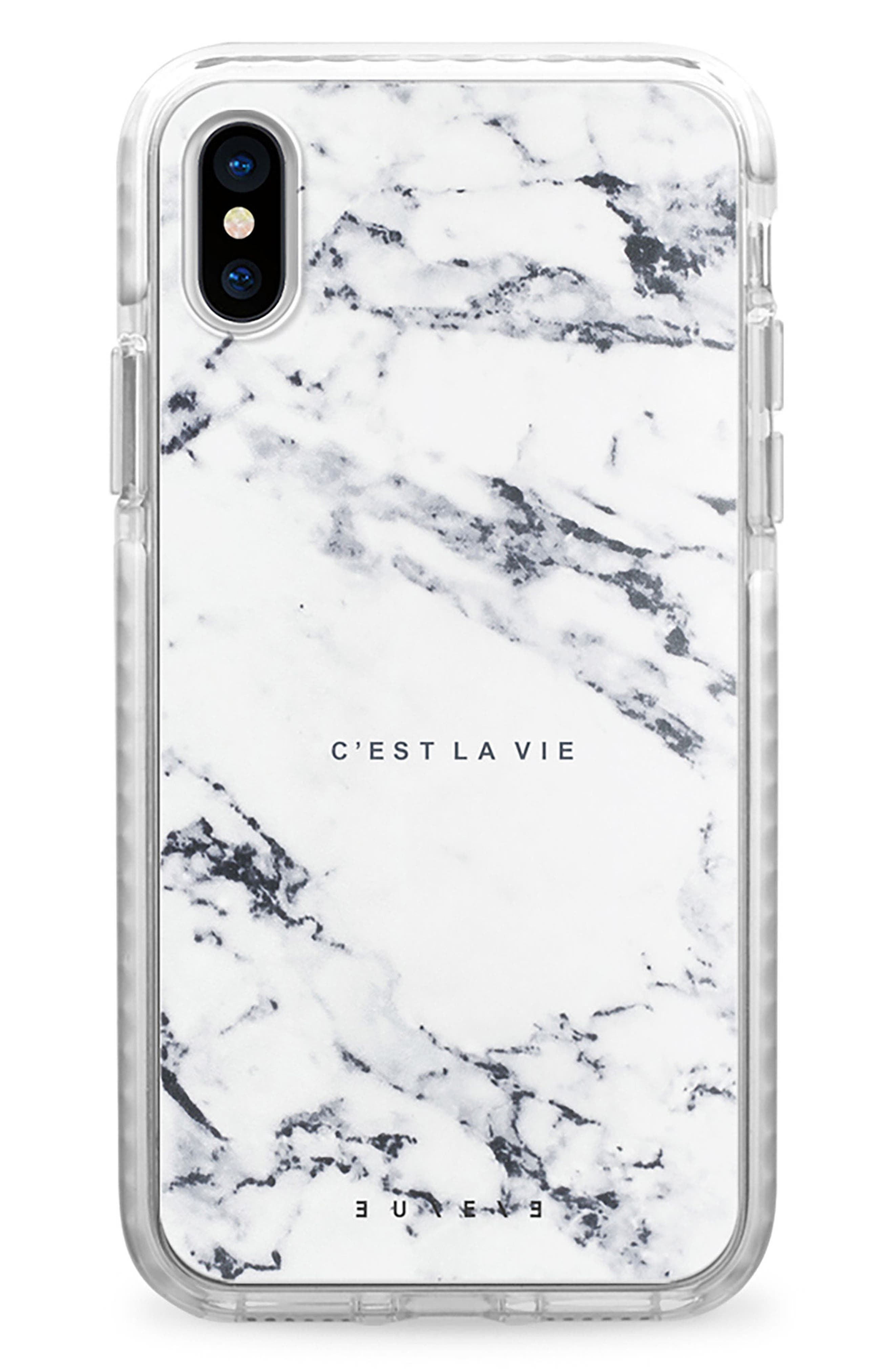 C'est la Vie Marble iPhone X Case,                             Main thumbnail 1, color,                             White Marble